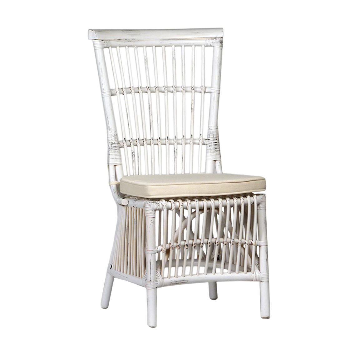 White Wash Rattan Dining Chair Chairish