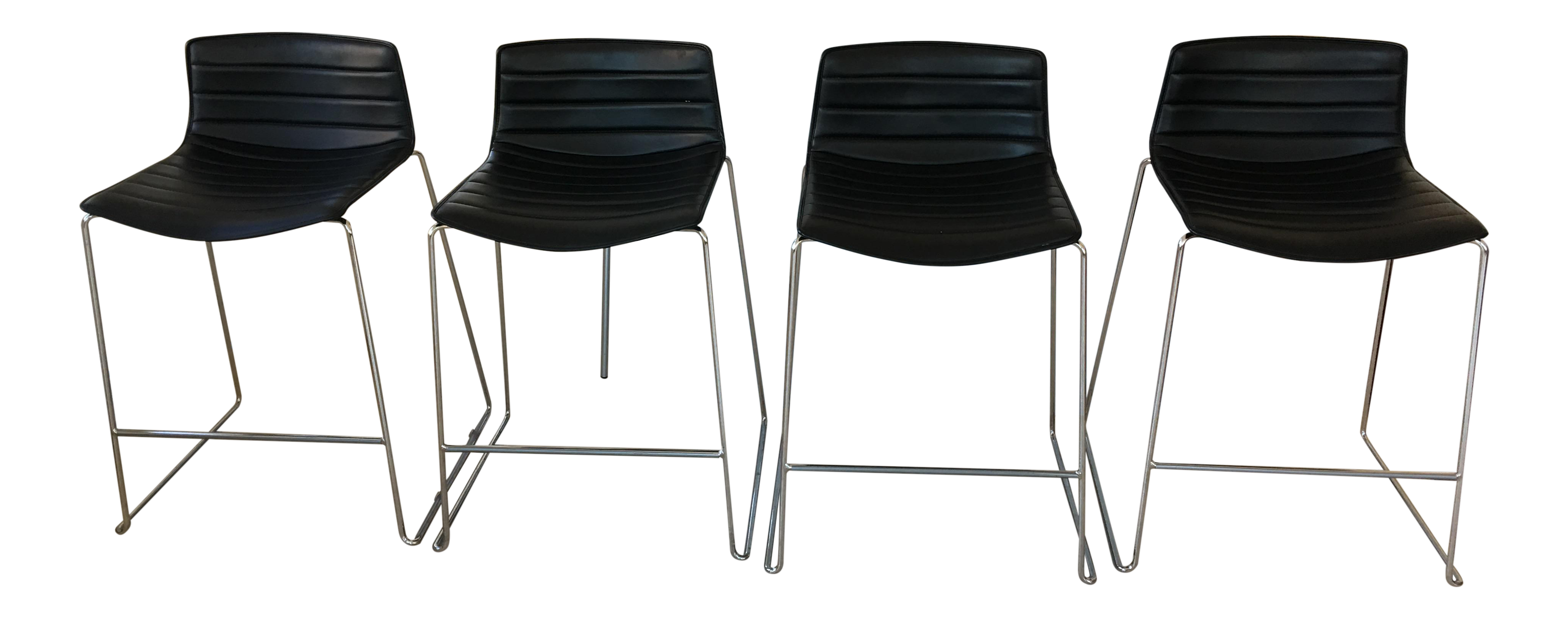 Black Leather Counter Stools by Arper Set of 4