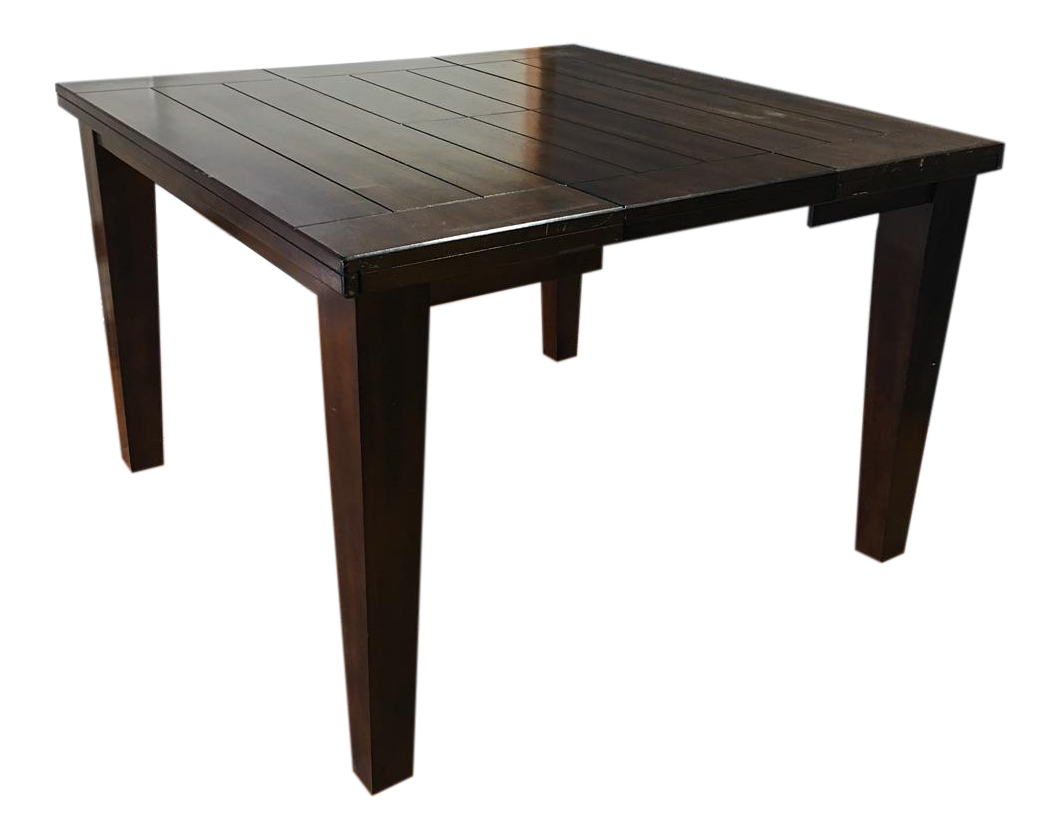 Brown Wooden Counter Height Dining Table W Butterfly Leaf