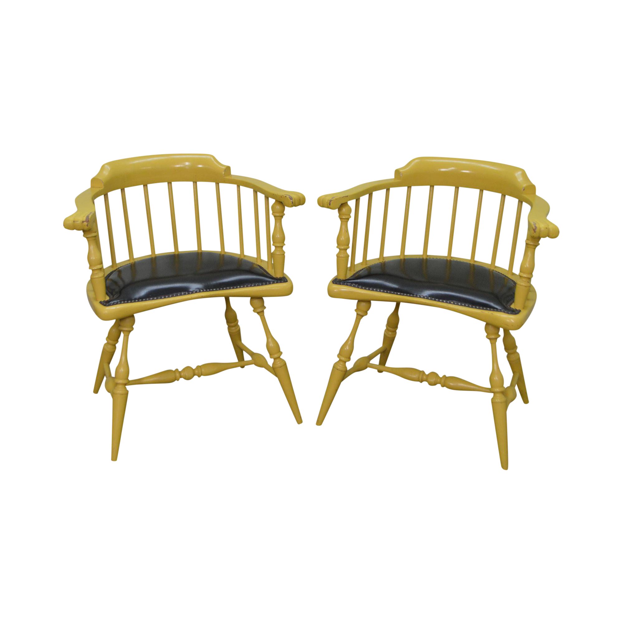 Duckloe Vintage Pair Of Yellow Painted Black Leather Seat Windsor Arm Chairs  | Chairish