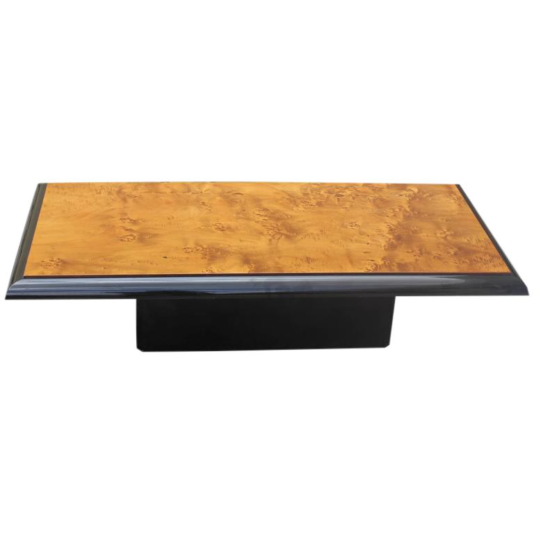 french art deco burl wood coffee table | chairish