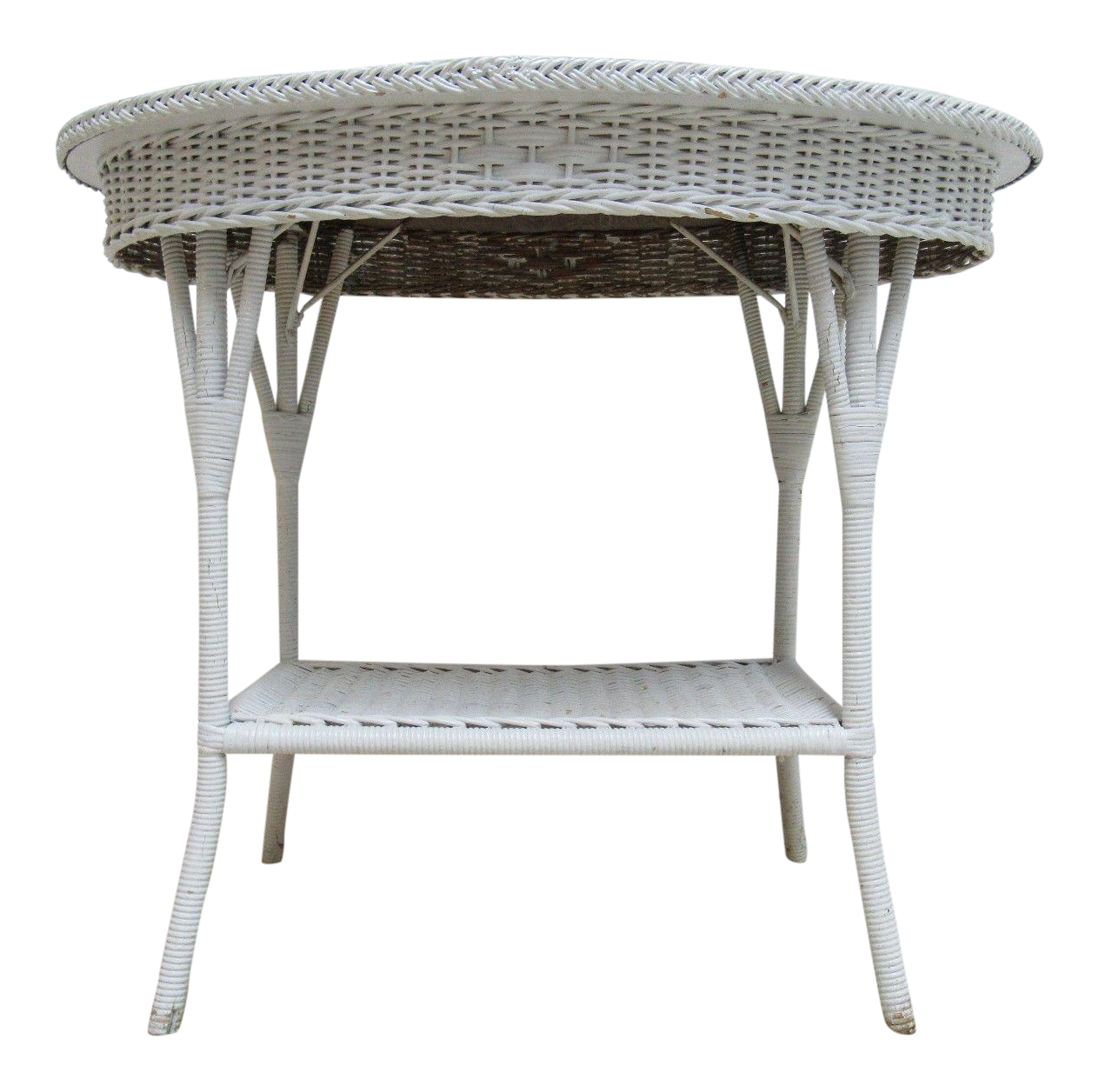 Outdoor Victorian Table: Antique Wicker Outdoor Side Table