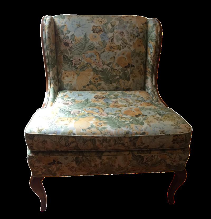 Vintage Winged Slipper Chair Chairish