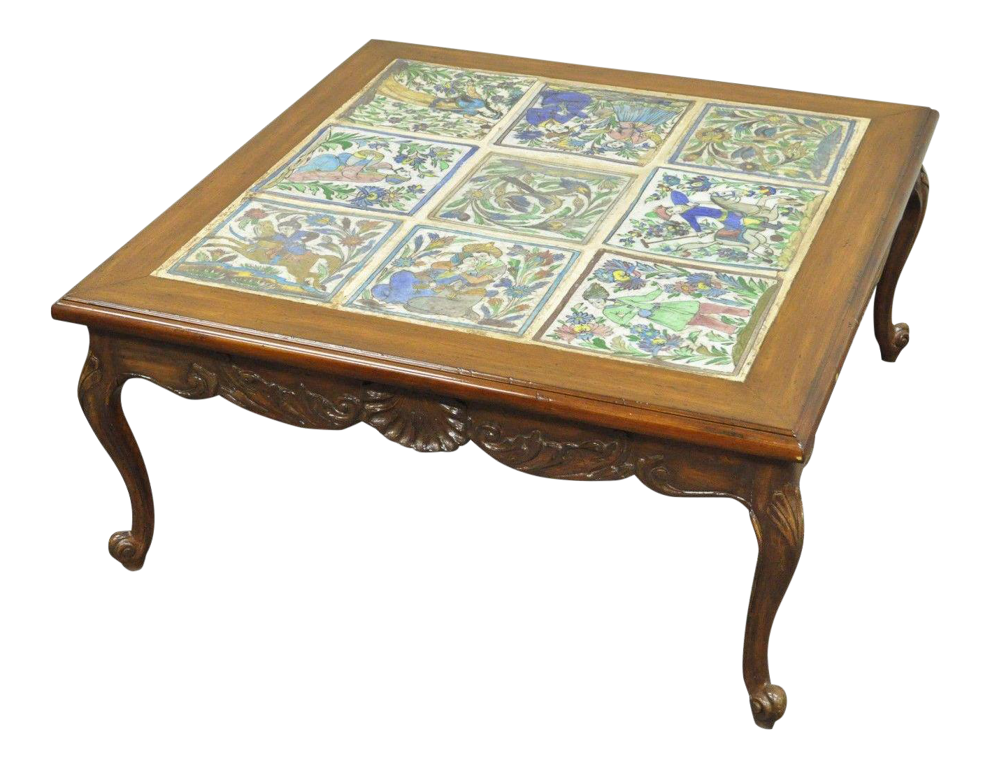 Square vintage french country louis xv carved walnut tile top square vintage french country louis xv carved walnut tile top coffee table chairish geotapseo Choice Image