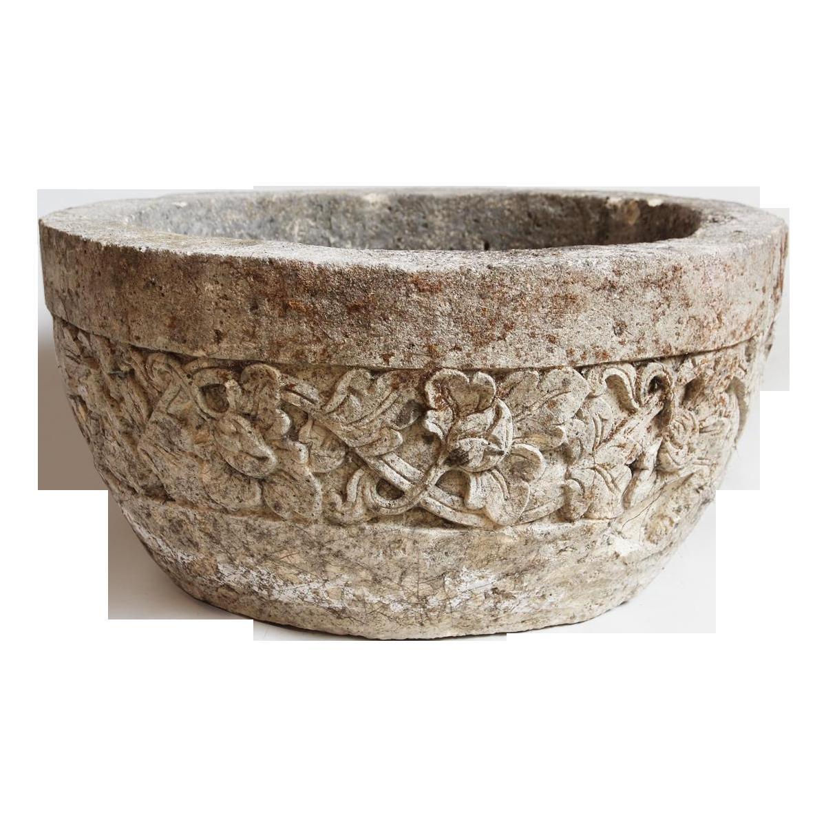 Stone Carved Planter Bowl Chairish