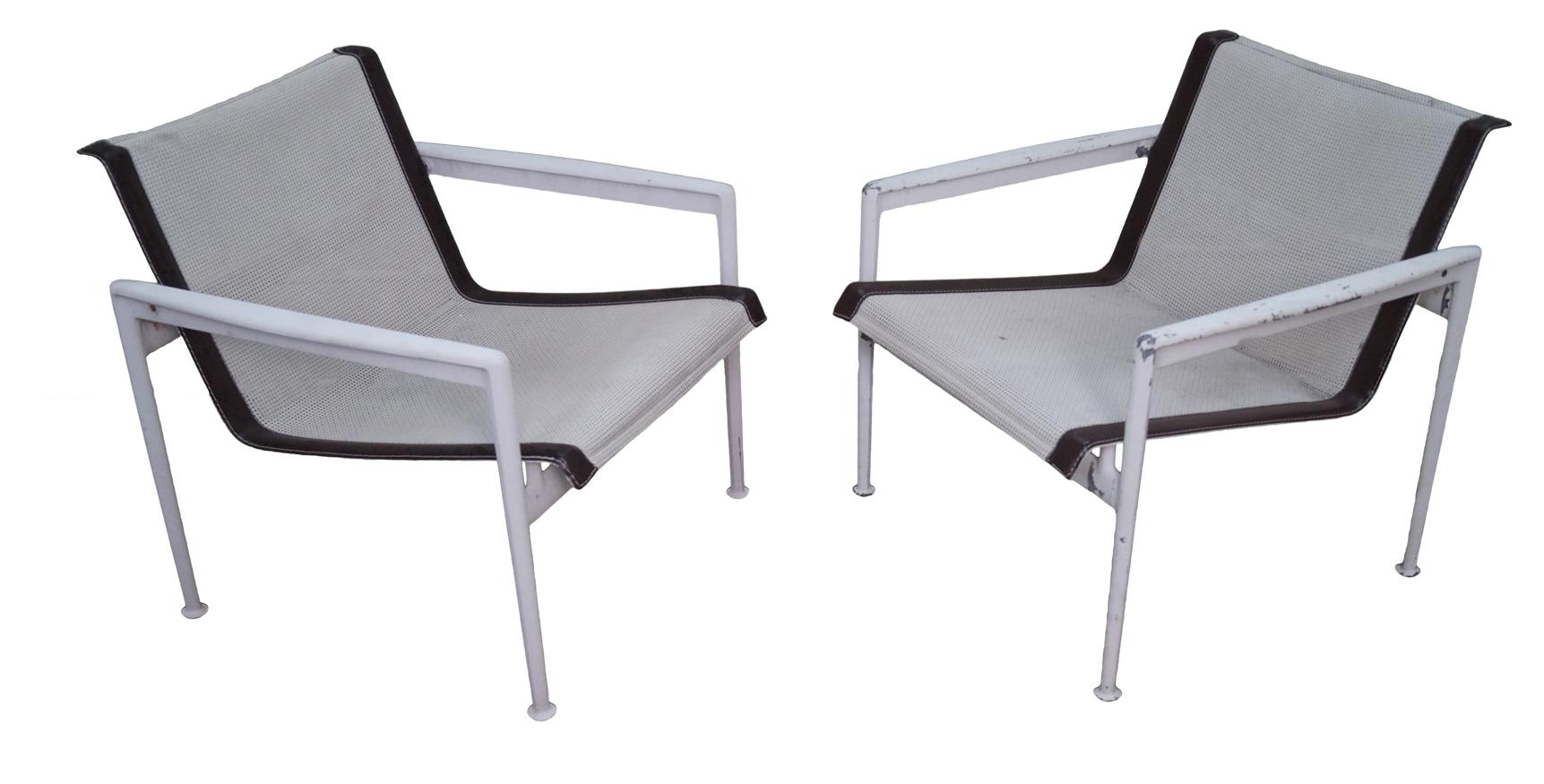 Schultz Knoll Aluminum Mesh Lounge Chairs Pair