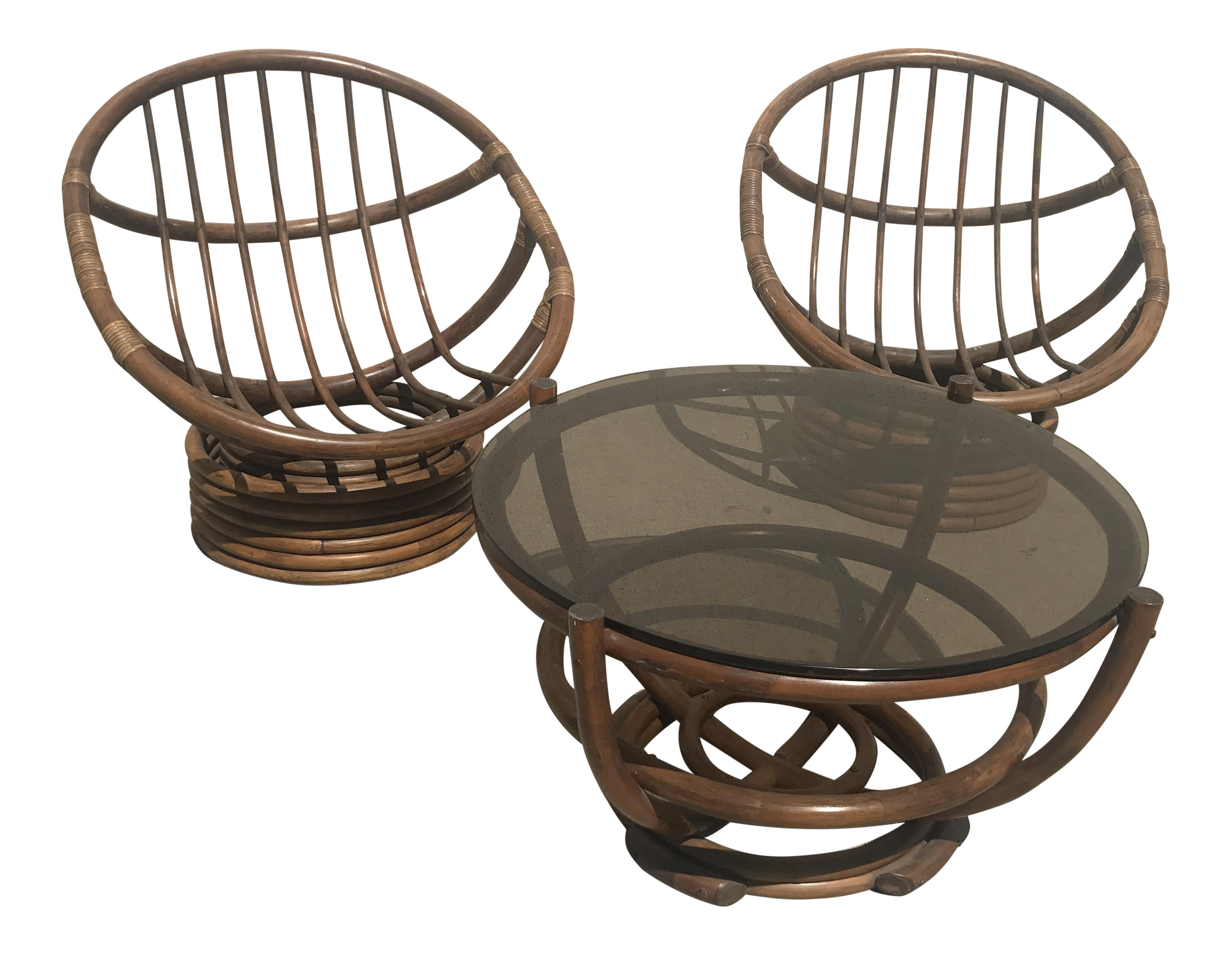 Vintage 60s Rattan Papasan Swivel Rocking Chairs Amp Table