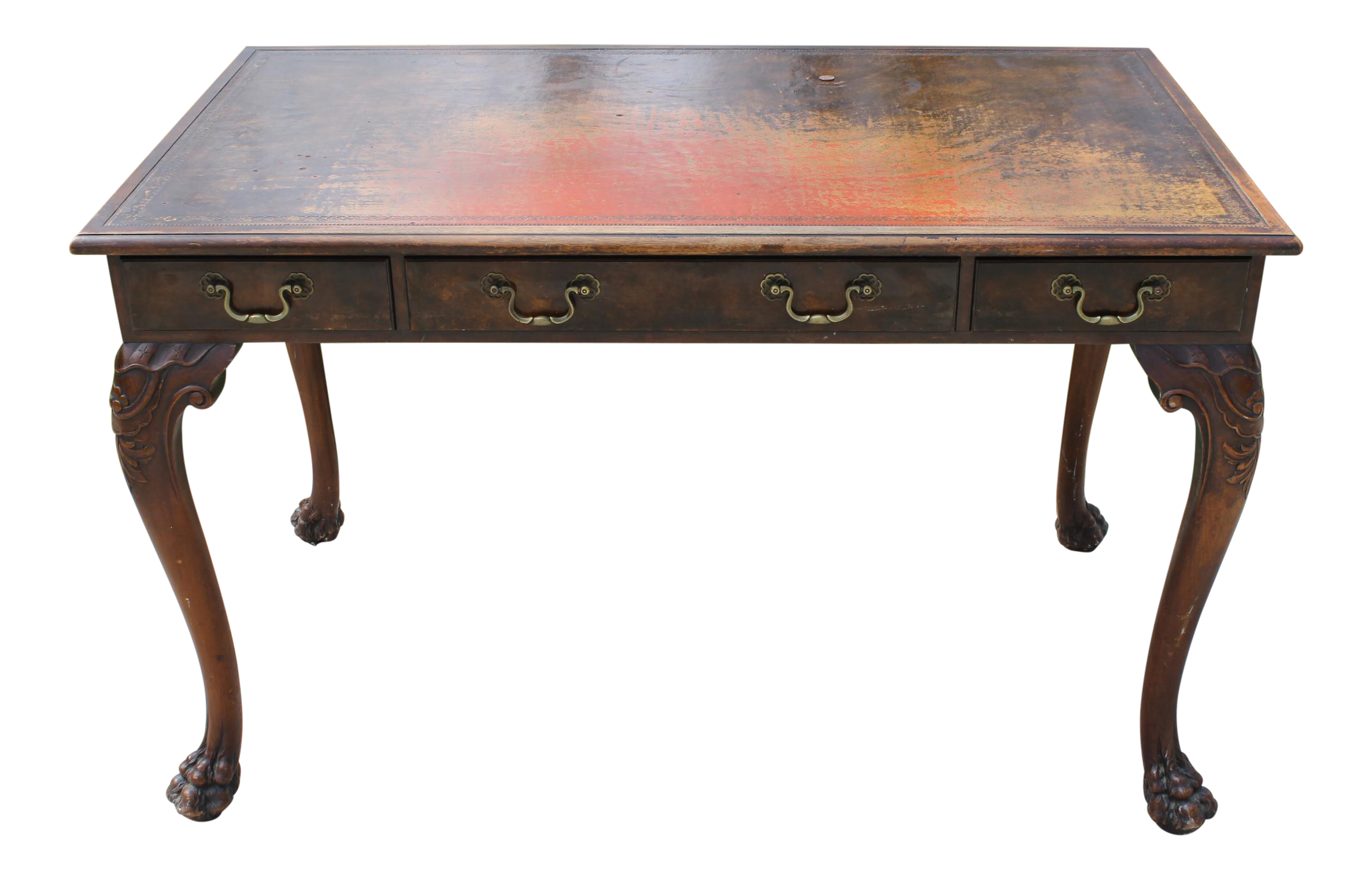 Antique Leather Top Claw Foot Writing Desk Chairish