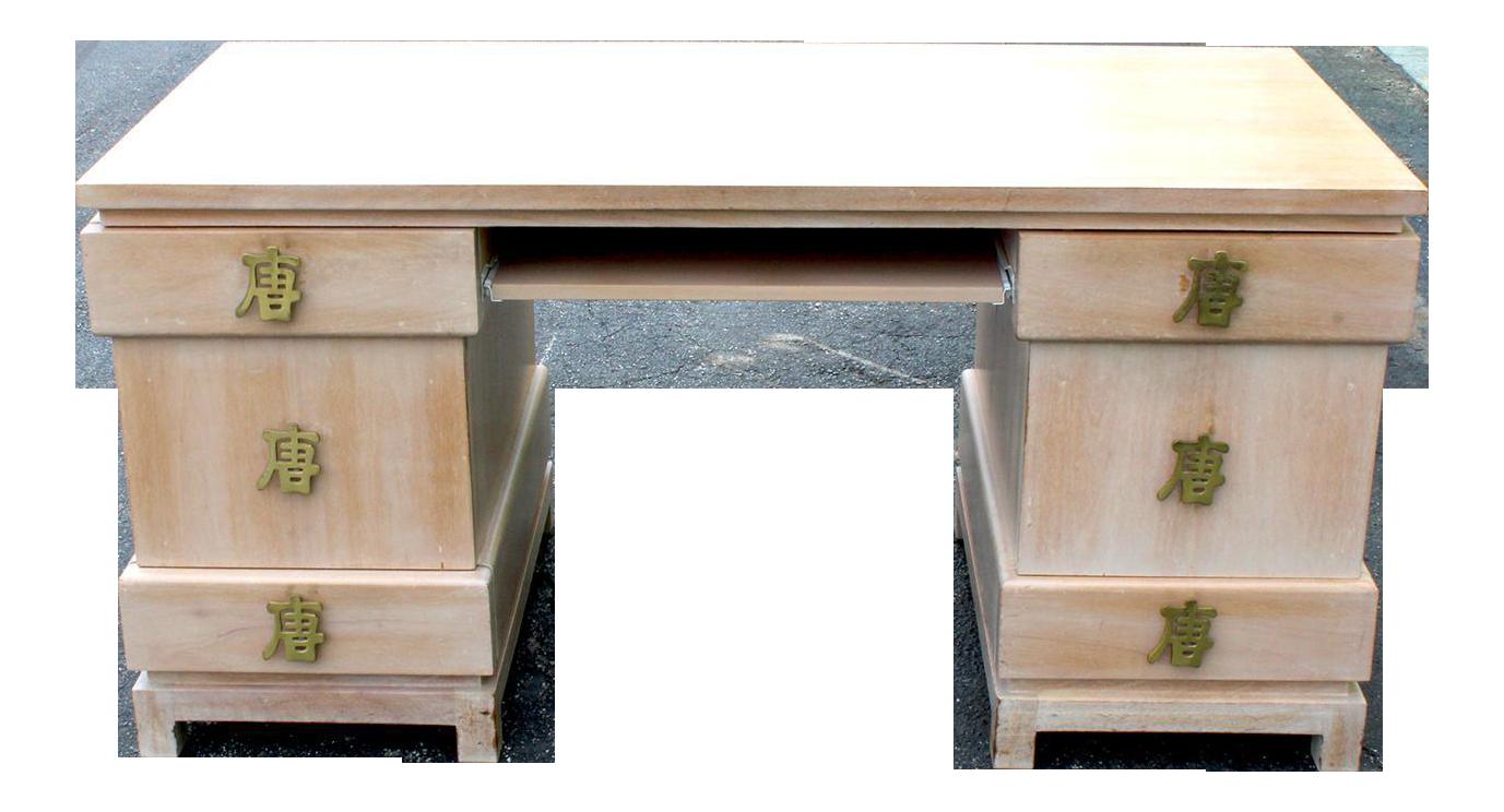 Asian style oversized brass hardware desk chairish for Oriental style desk