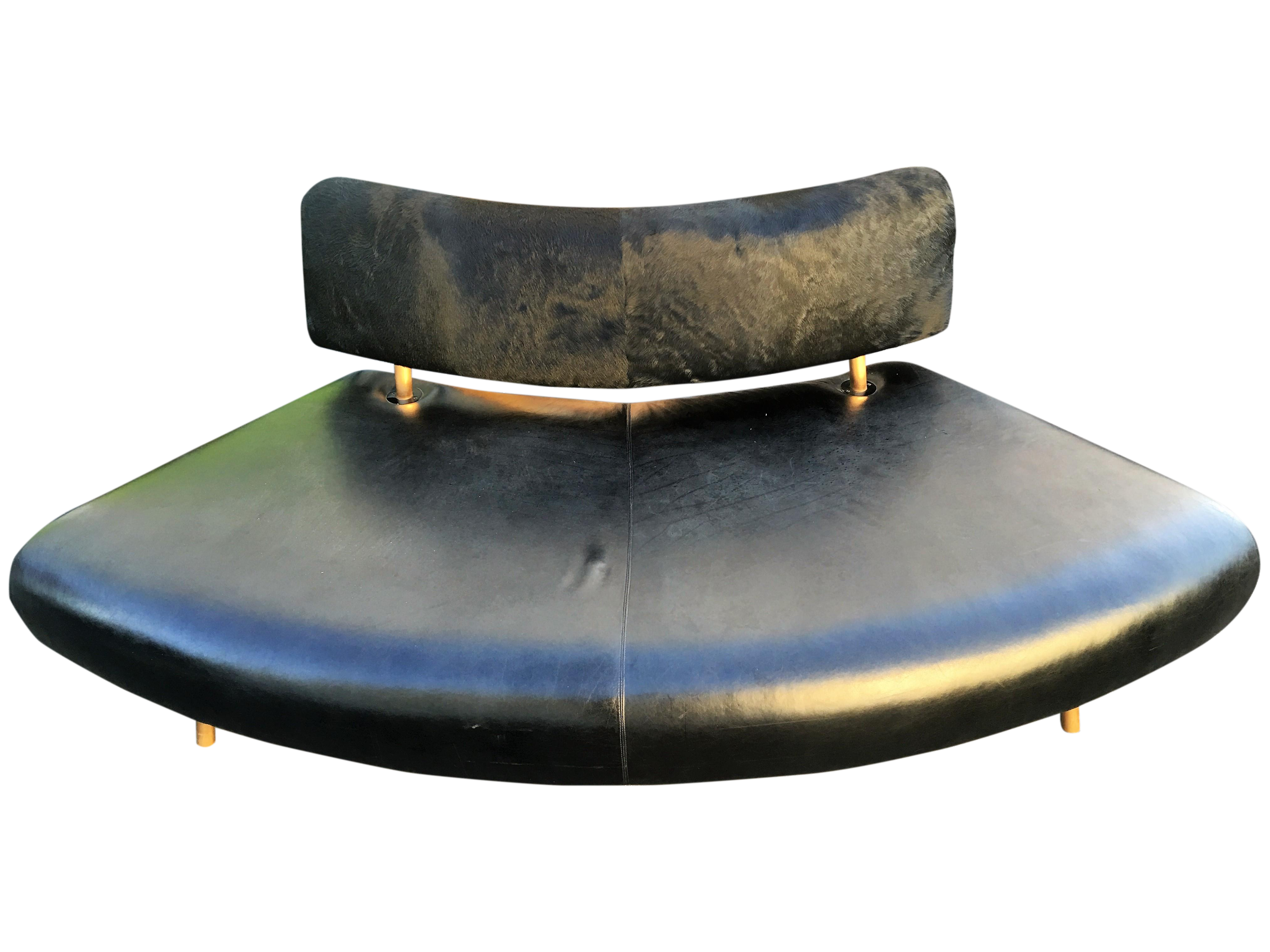 Black Faux Cowhide Convex Sofa Bench Chairish