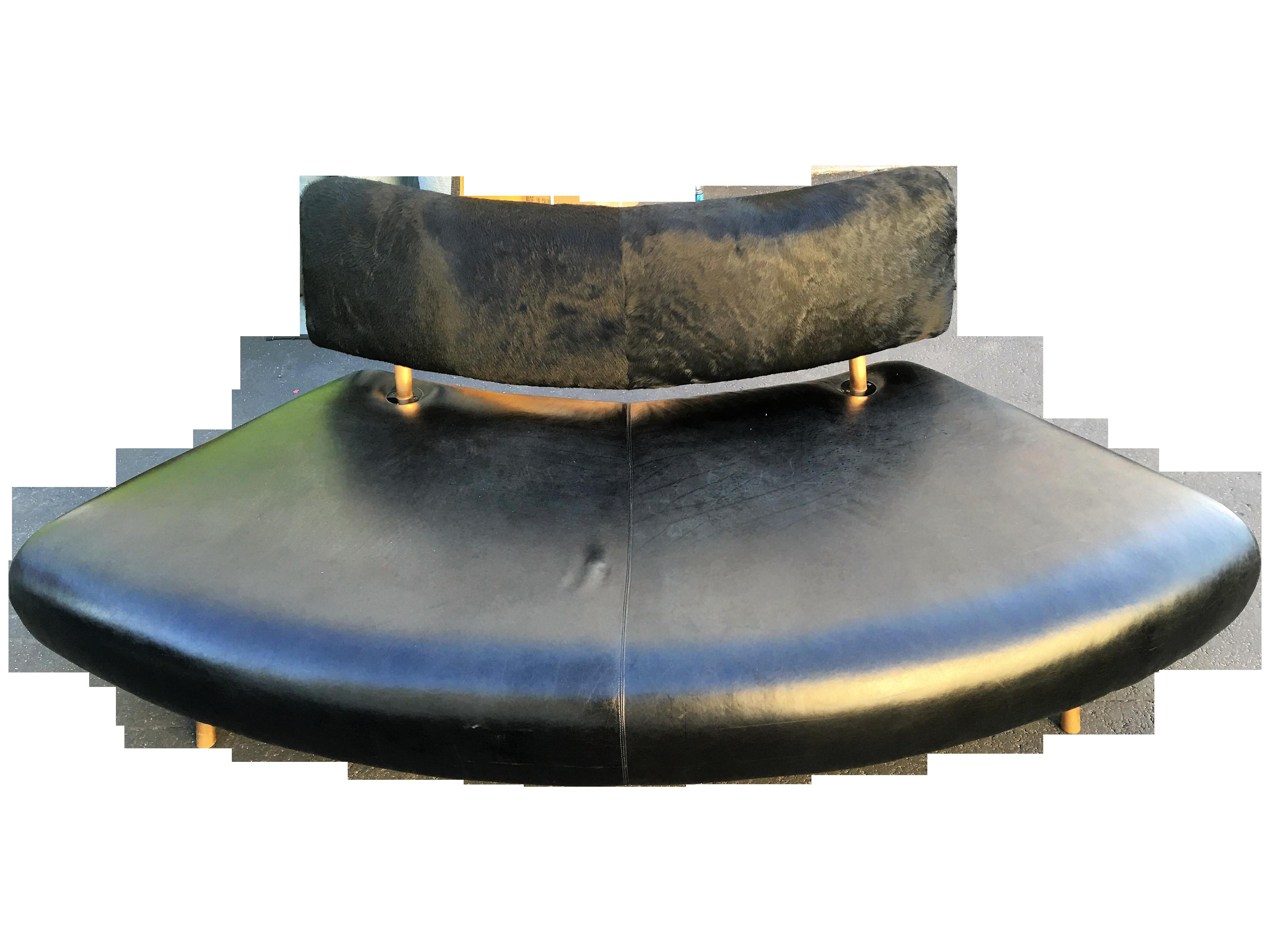 Black Faux Cowhide Convex Sofa Bench Chairish
