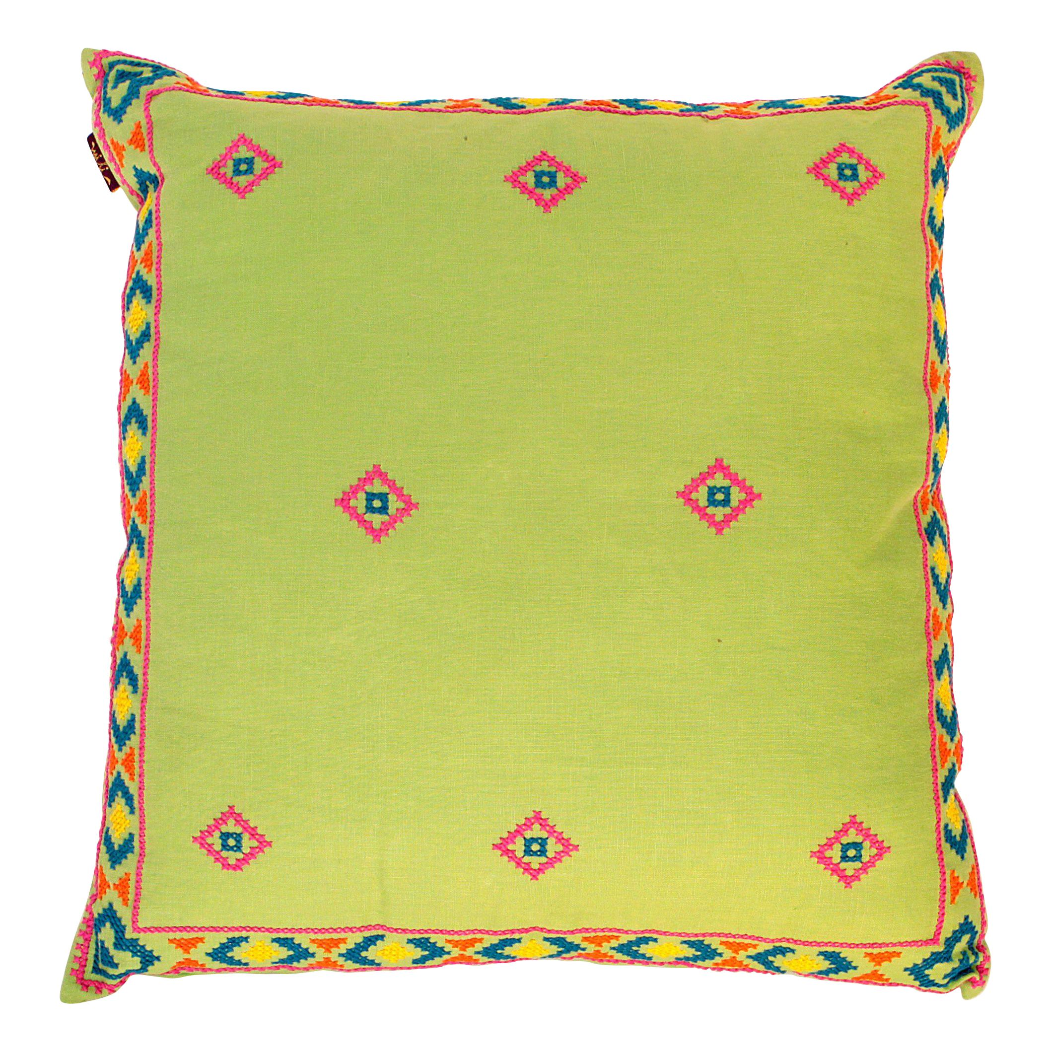 Lime green mexican hand embroidered pillow chairish