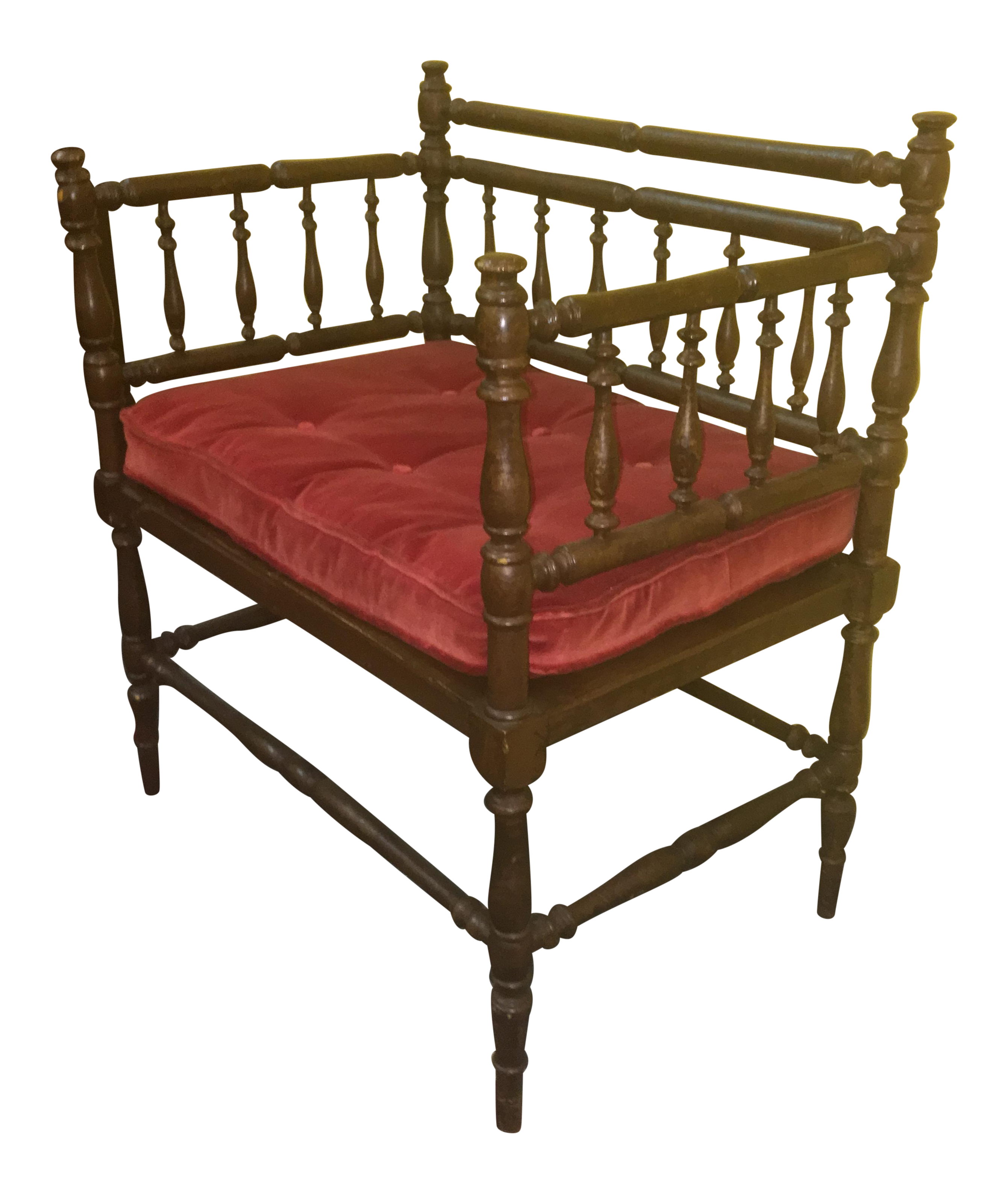 Antique wooden spindle chairs - Image Of Antique Wood Spindle Bench