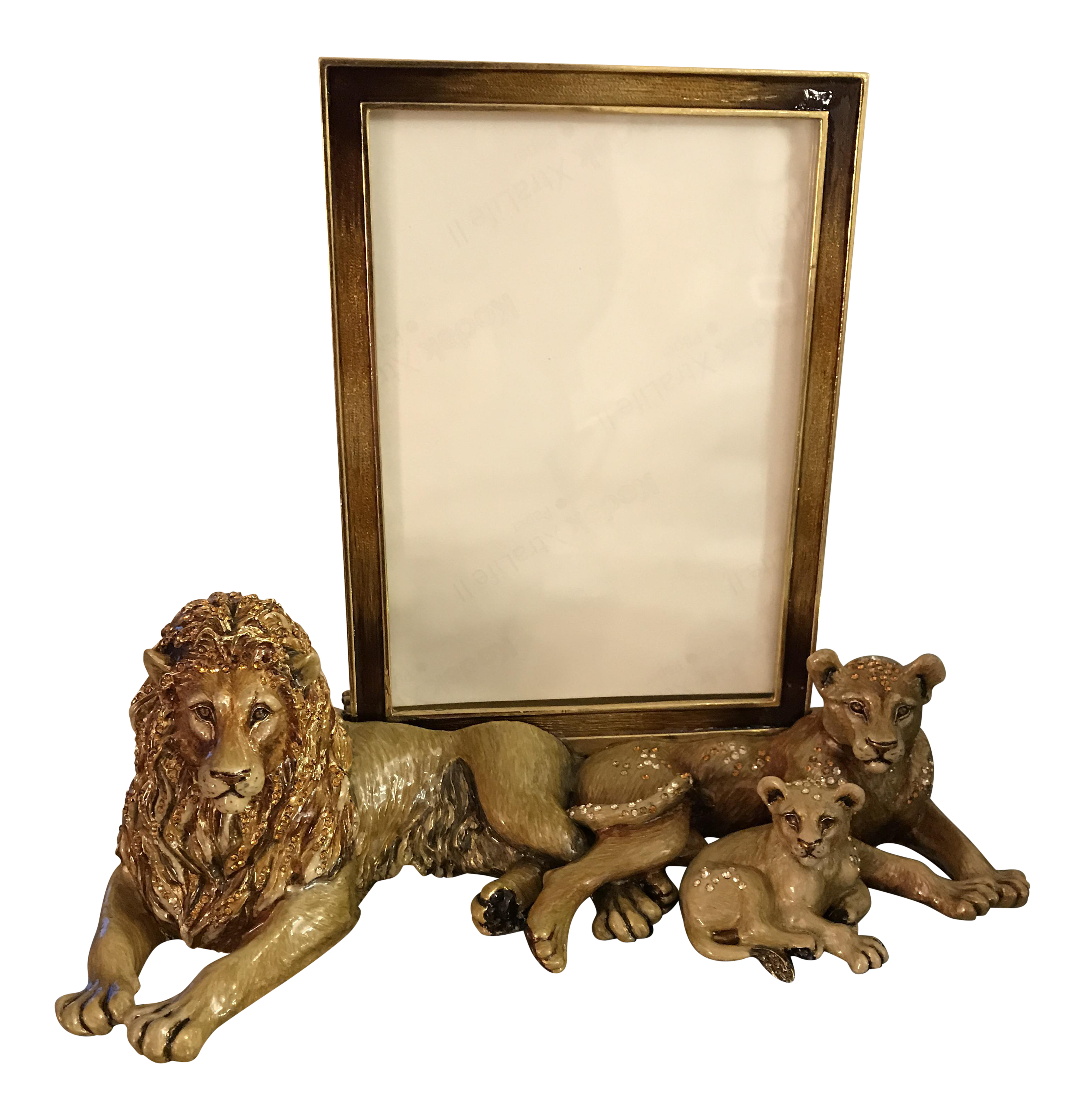 jay strong water lion family picture frame chairish. Black Bedroom Furniture Sets. Home Design Ideas