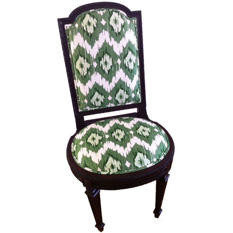 Green & White Ikat Antique Side Chair