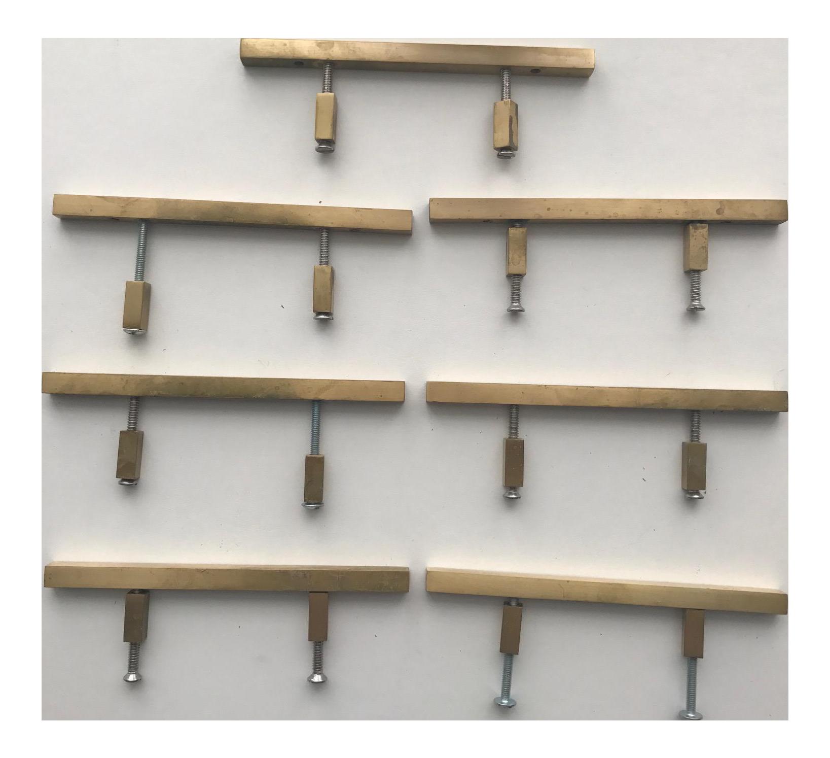 Satin Brass Cabinet Pulls Modern Satin Brass Cabinet Pulls Set Of 7 Chairish