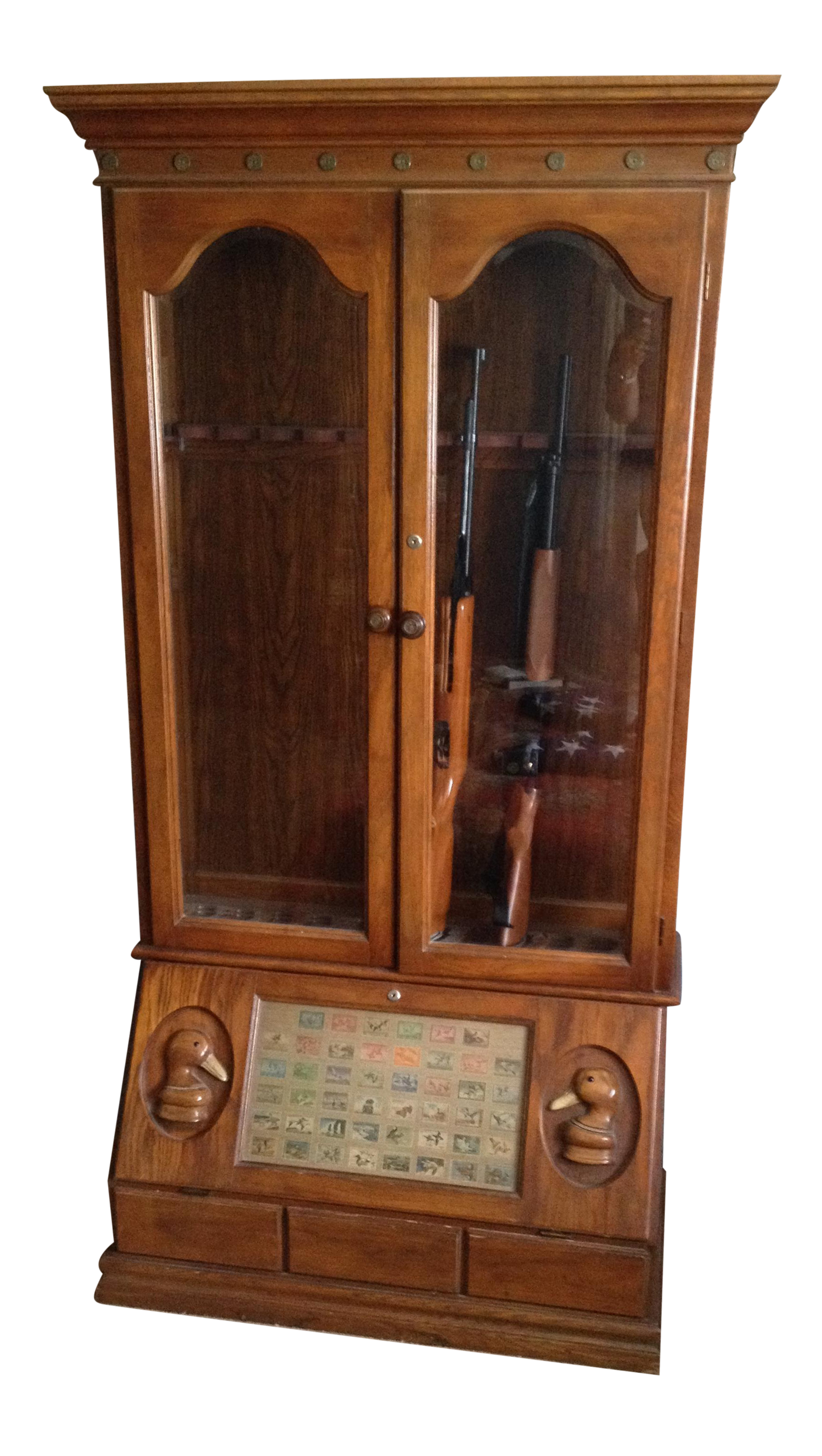 Duck Carved Gun Display Cabinet Chairish