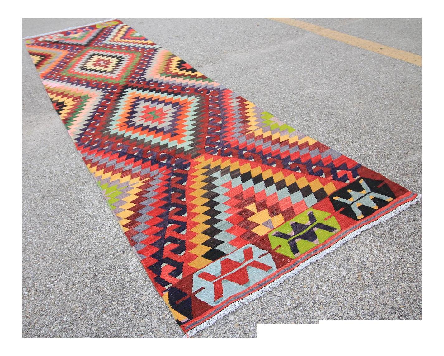 Turkish Tribal Oushak Handmade Flatwoven Kilim Rug 2 10