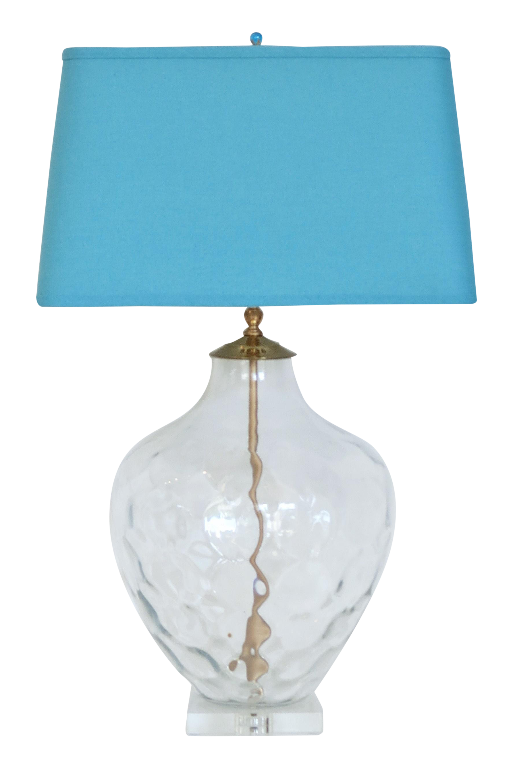 Clear Italian Glass Lamp Amp Blue Shade Chairish