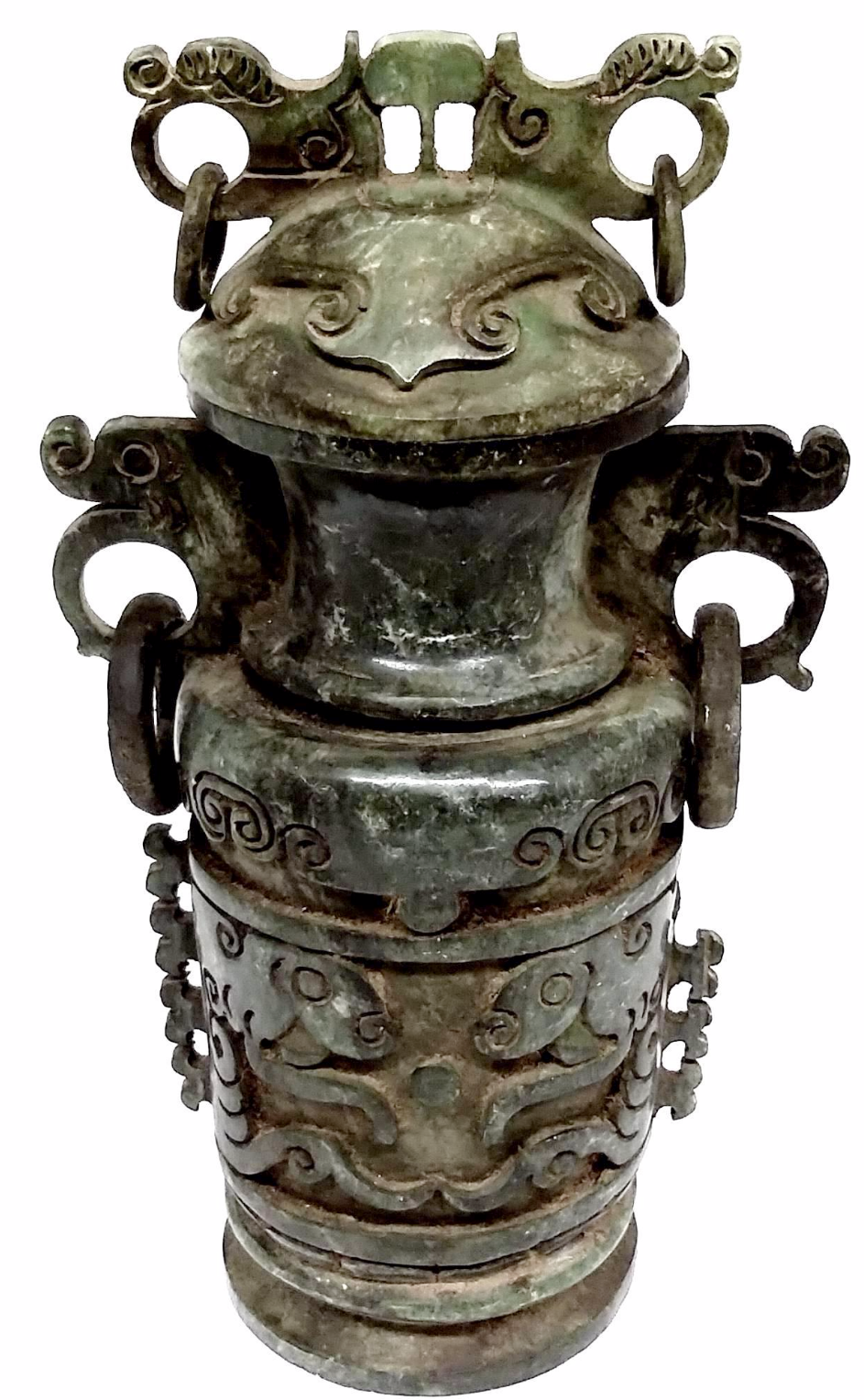 Green stone carved chinese container chairish