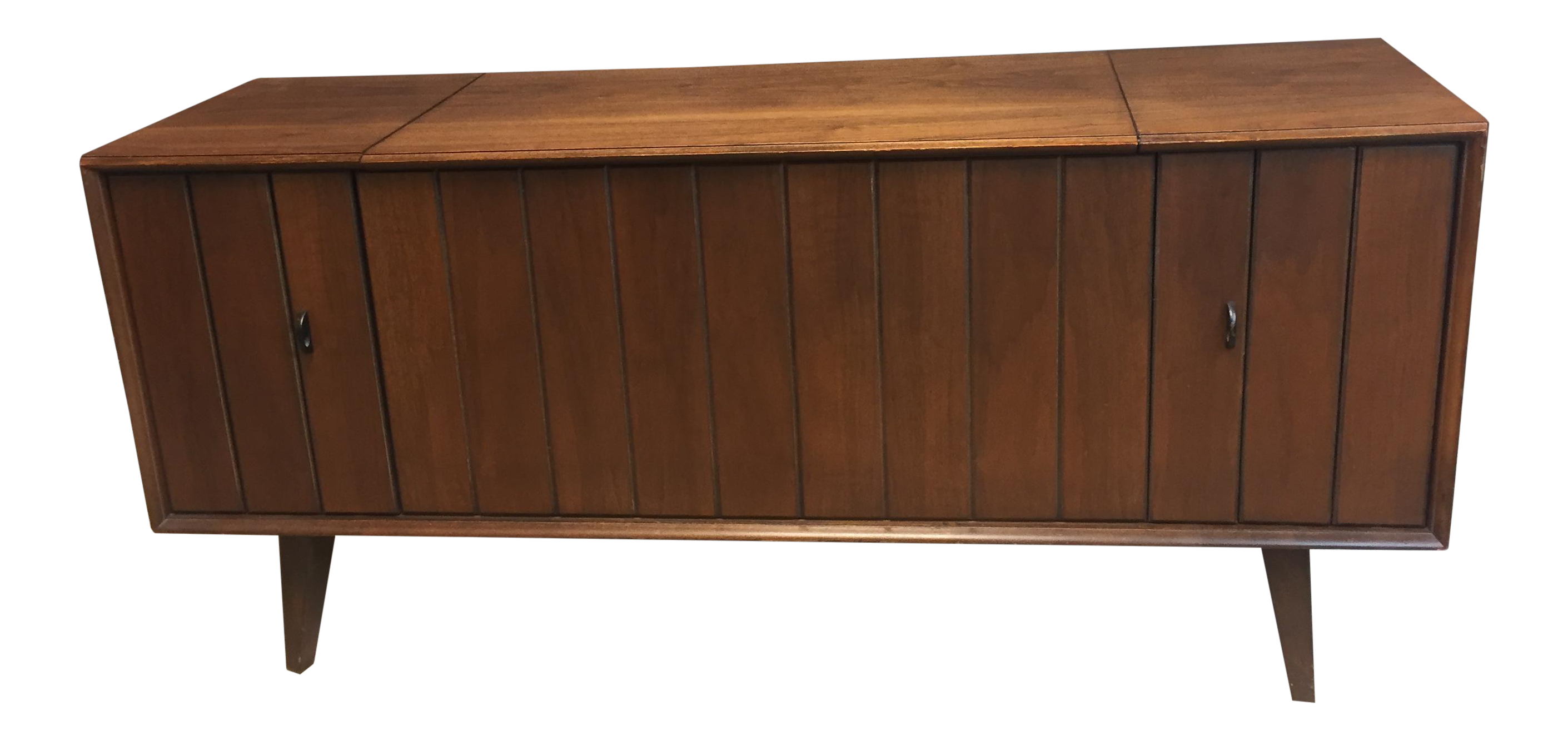 Mid century modern zenith wood record console chairish for Zenith sofa table