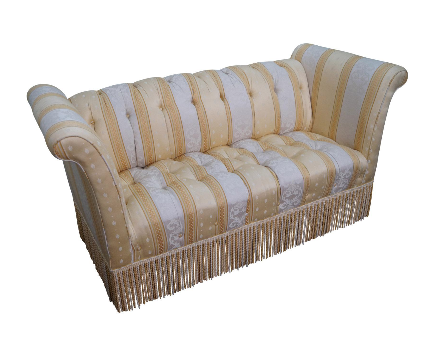 Old Hickory Tannery Upholstered Tufted Settee Chairish