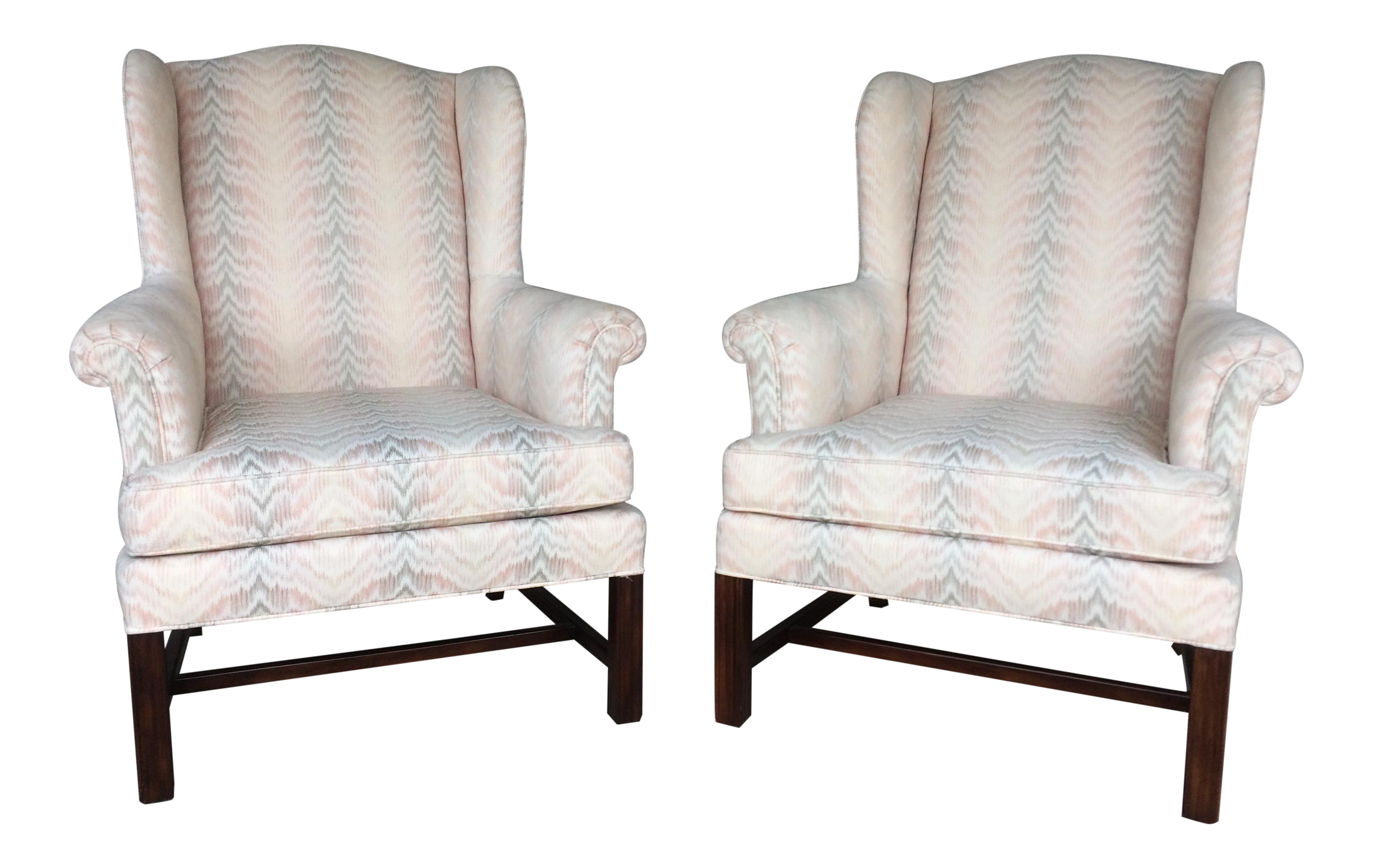 drexel traditional classics chippendale style wing back chairs a pair
