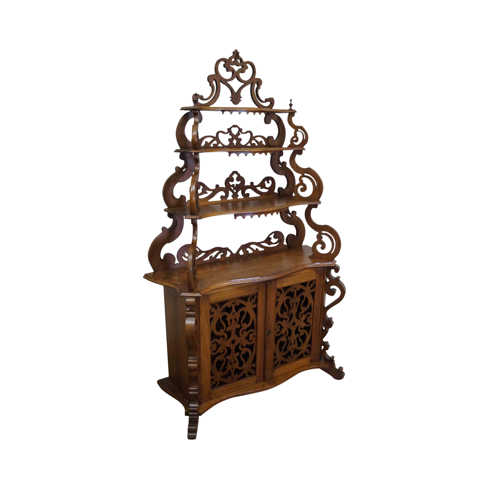 antique victorian walnut etagere cabinet chairish. Black Bedroom Furniture Sets. Home Design Ideas