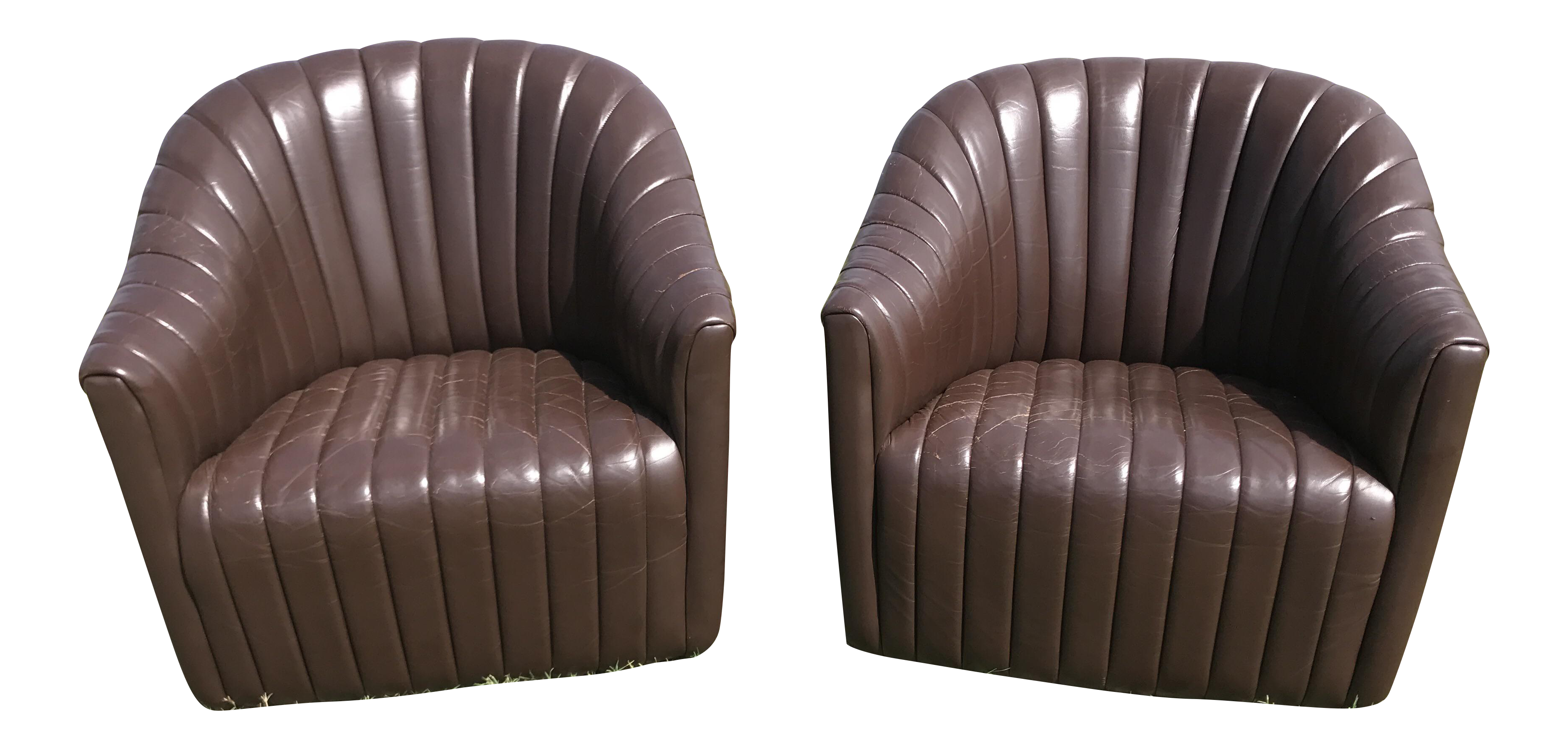 Ward Bennett Brickell Pleated Channel Leather Club Chairs A Pair