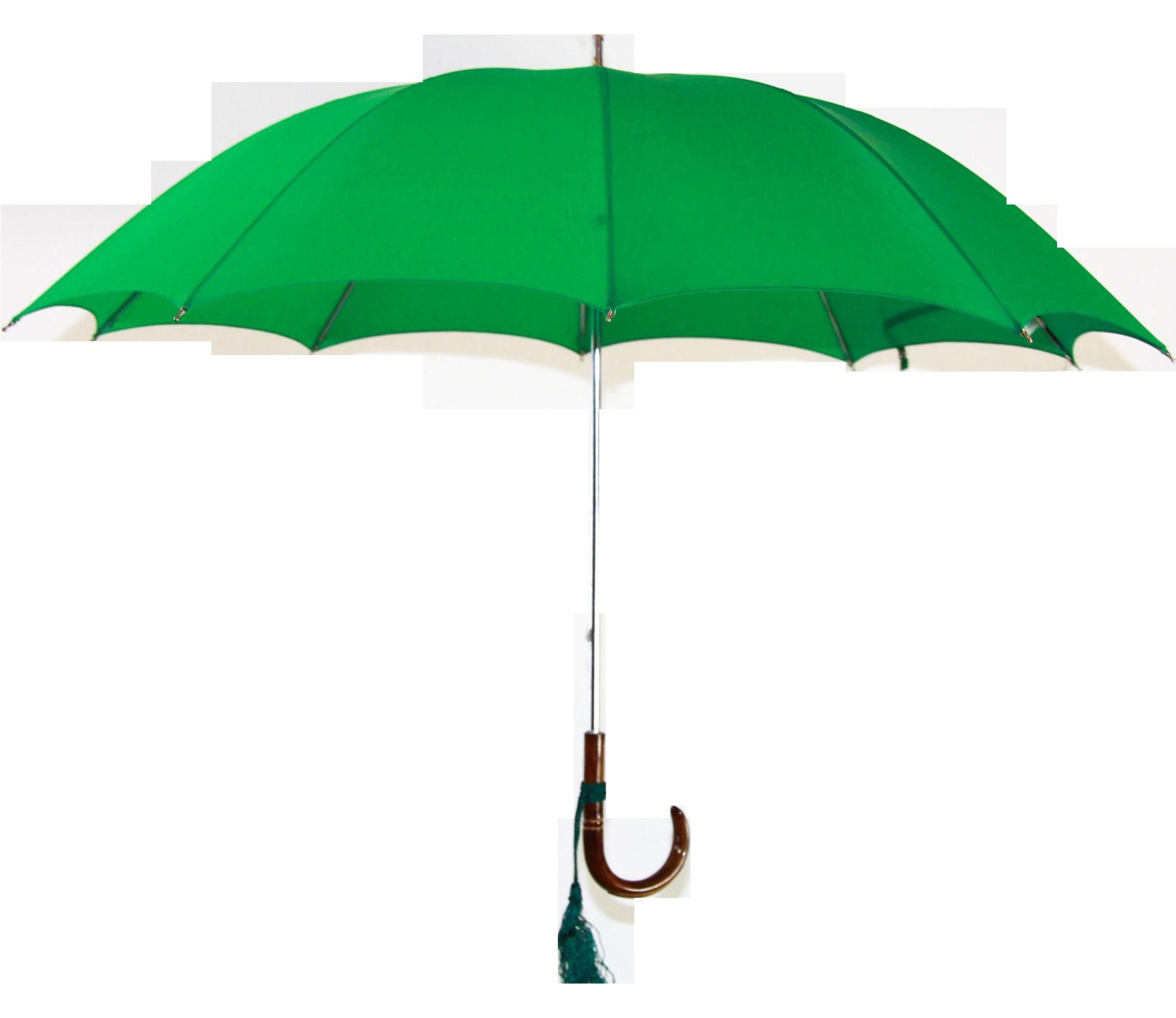 Vintage Green Umbrella With Custom Italian Handle Chairish