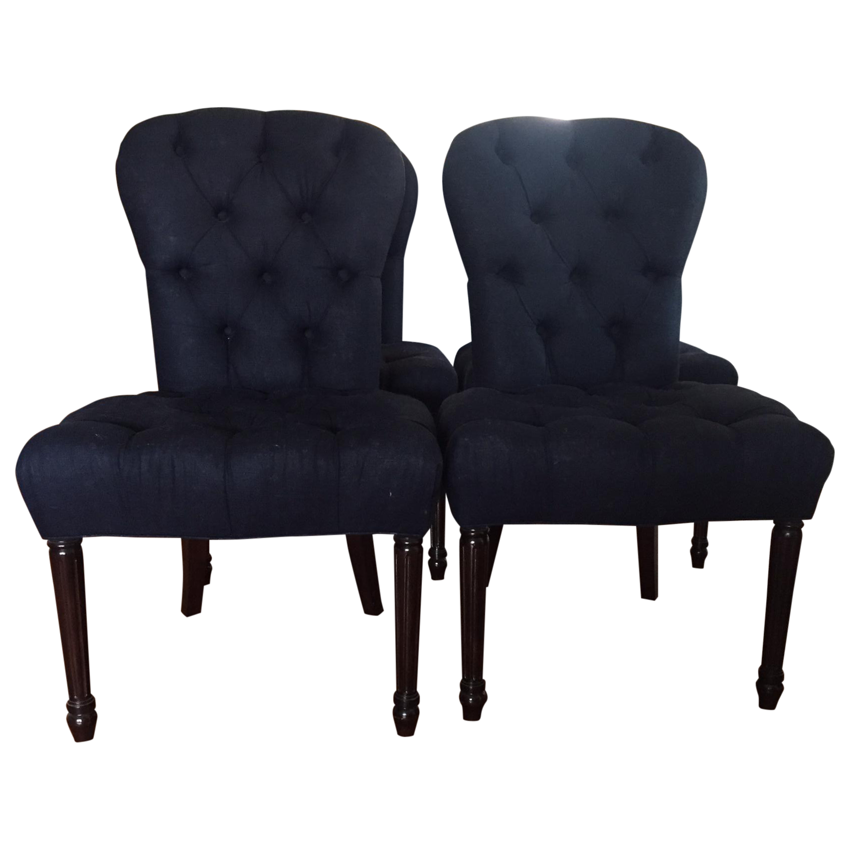 Custome Tufted Navy Blue Dining Chairs Set Of 4 Chairish