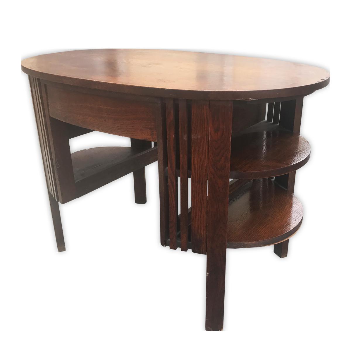 Antique mission oak oval office desk chairish - Oval office desk ...