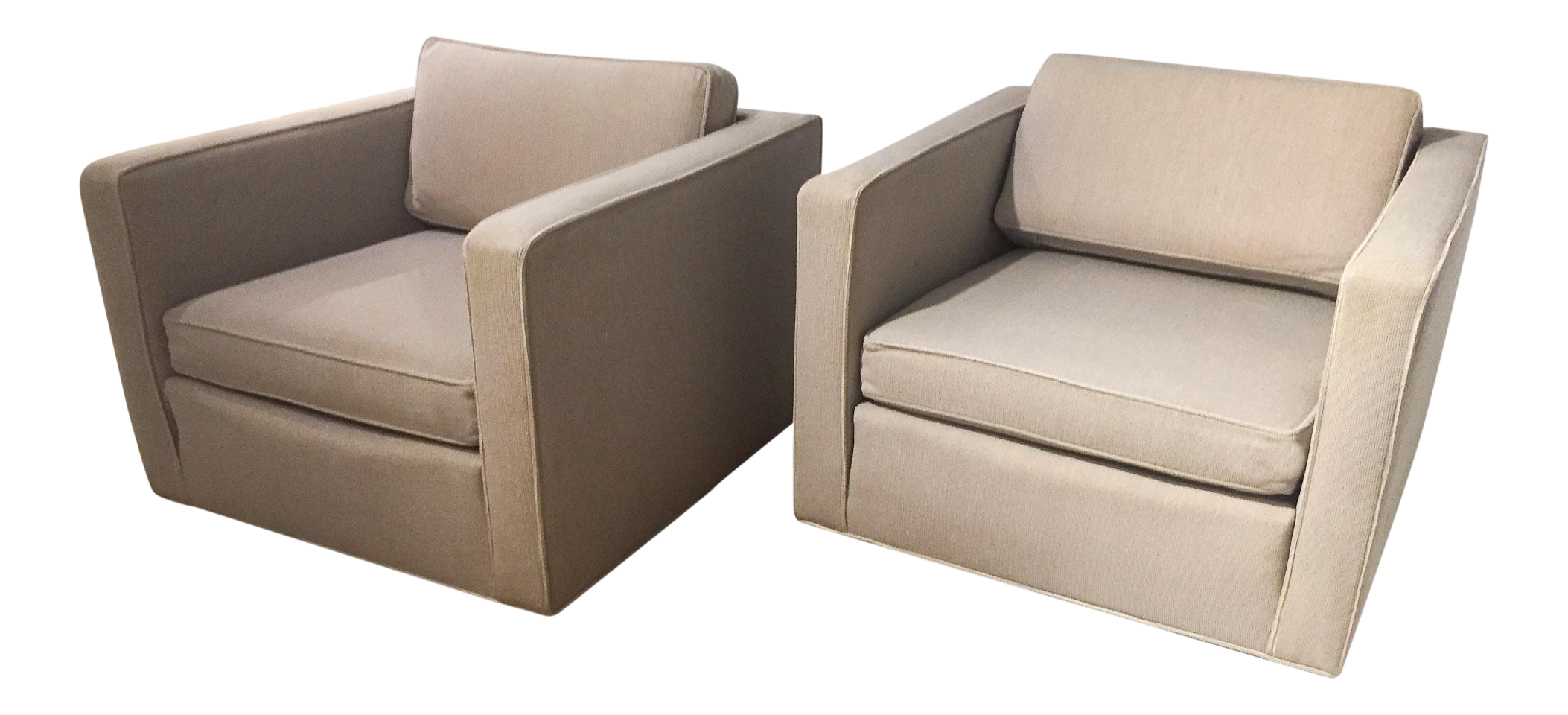 Mid Century Probber or Baughman Style Cube Lounge Chairs a Pair
