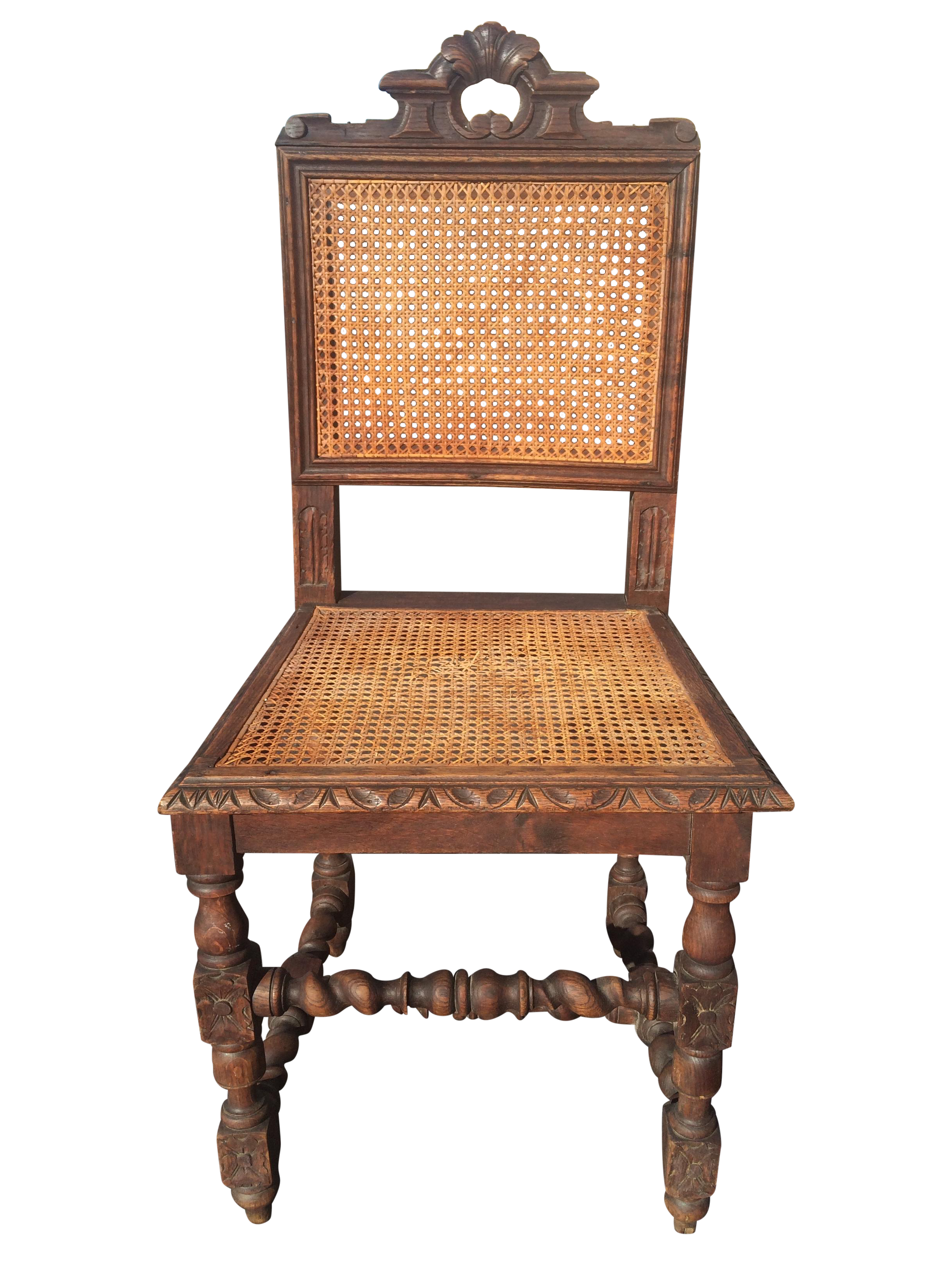 Jacobean Era Carved Cane Dining Chairs Set of 5