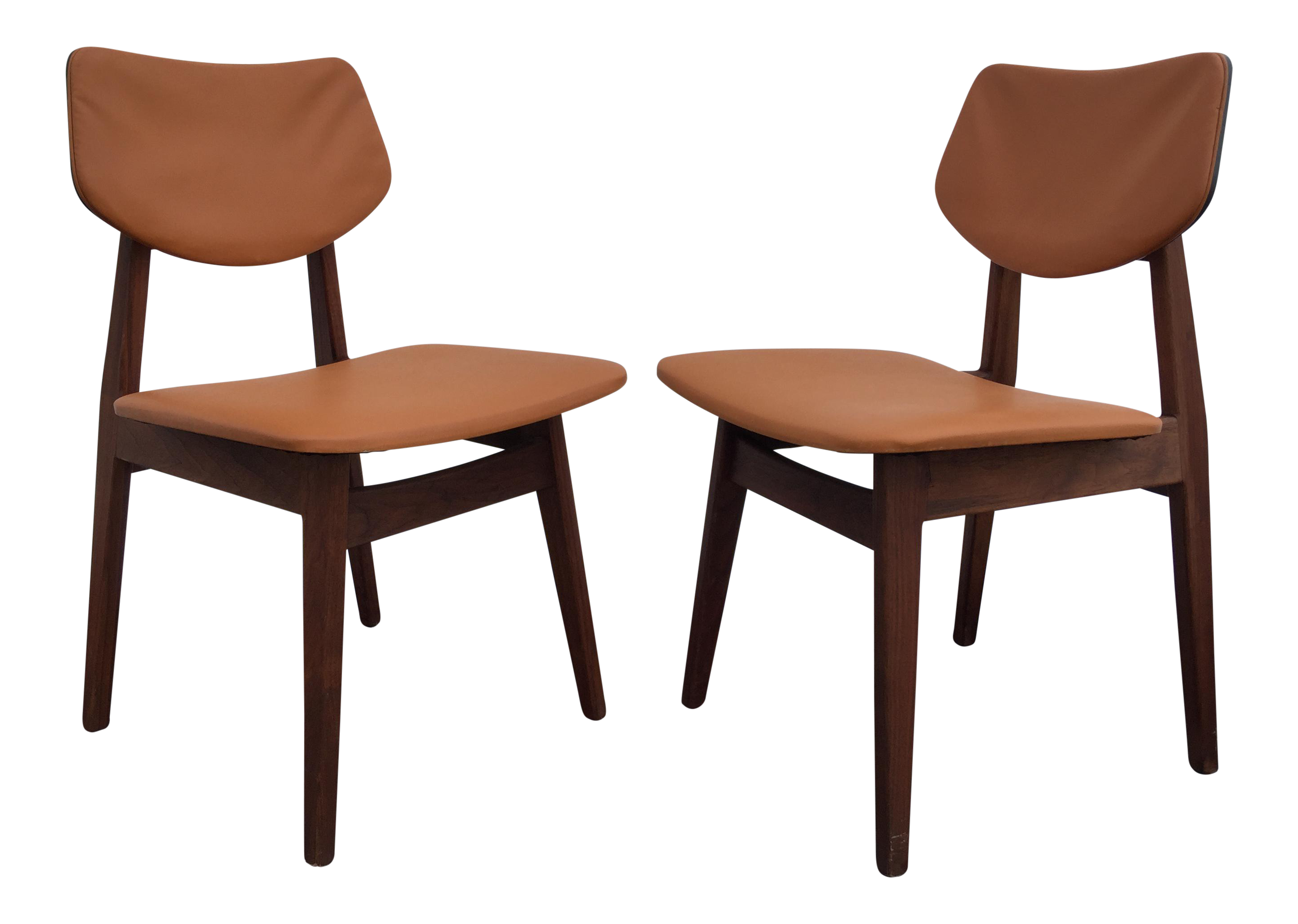 Jens Risom Walnut & Vinyl Chairs A Pair