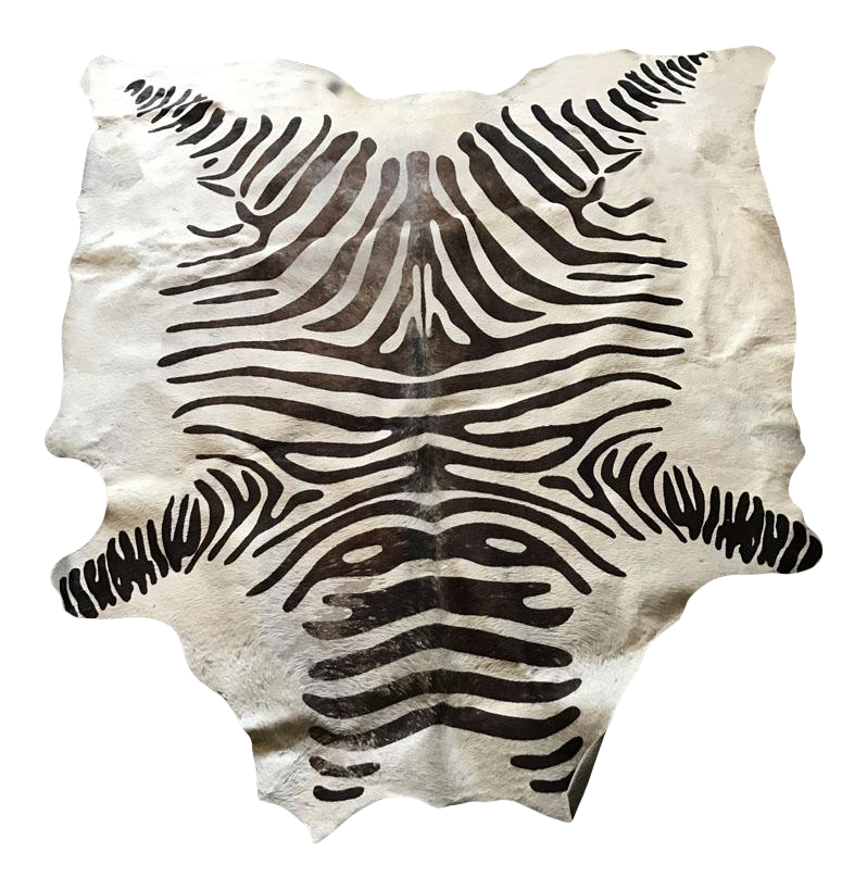 Zebra Sculpture Area Rug: Faux Zebra Hide Rug - 5' X 7'