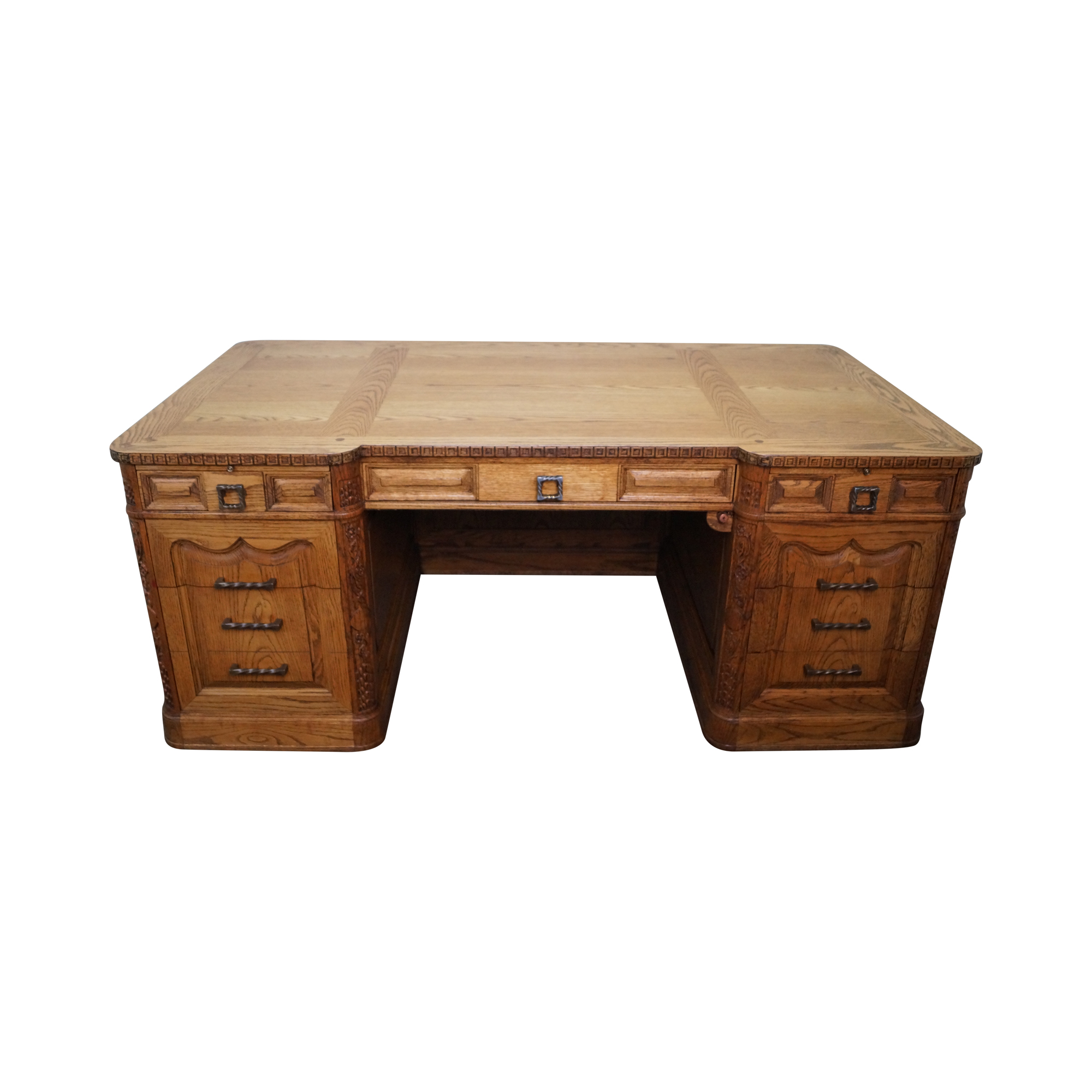 Romweber viking oak carved double pedestal desk chairish - Viking office desk ...