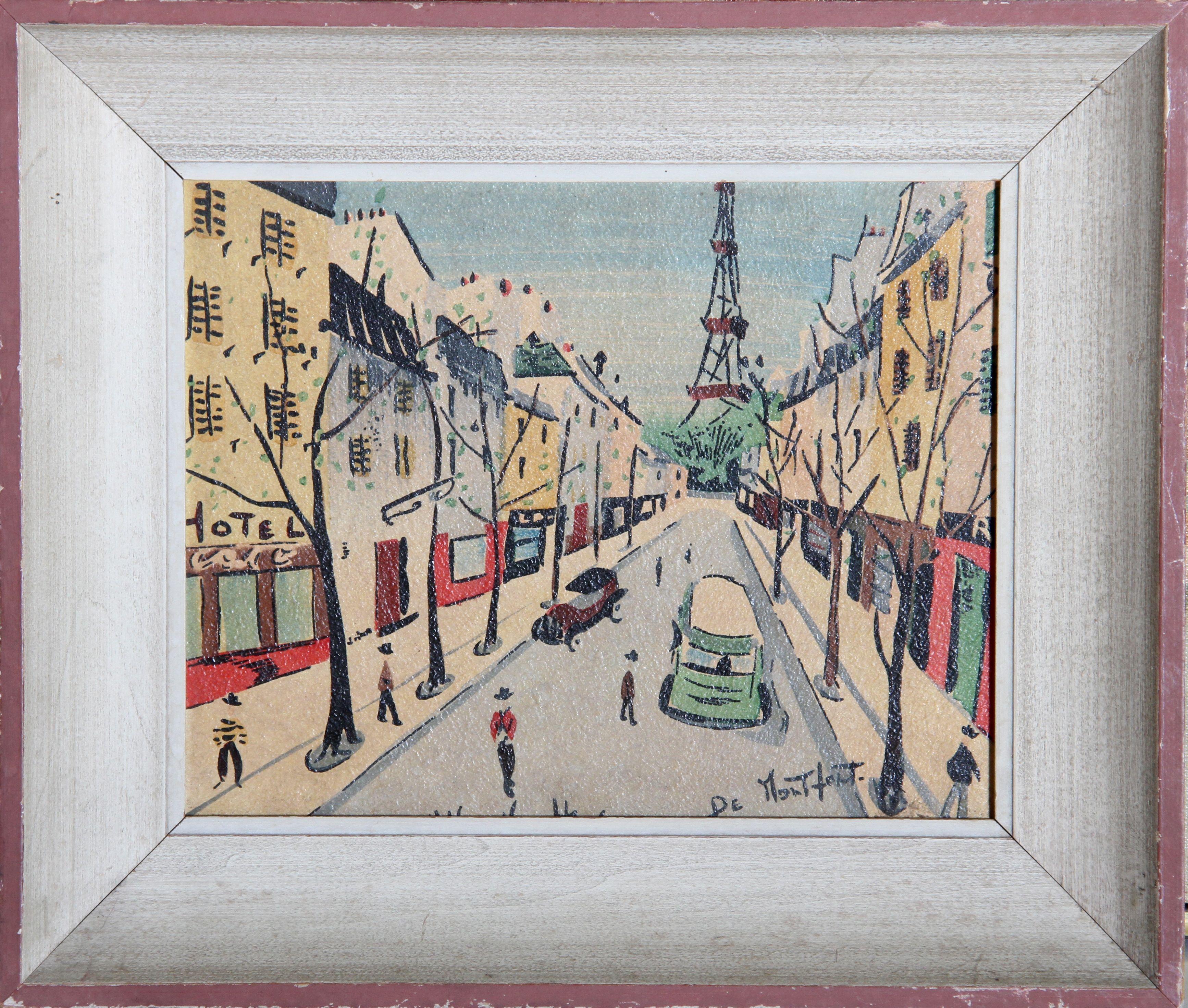 Charles De Montfort Print On Board Paris Scene Chairish