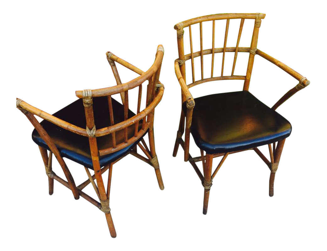 Bamboo arm chairs - Image Of Mid Century Bamboo Arm Chairs A Pair
