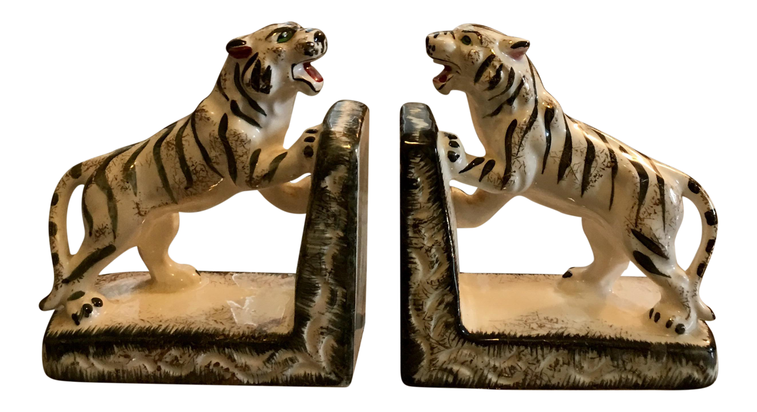 Hollywood Regency White Tiger Bookends A Pair