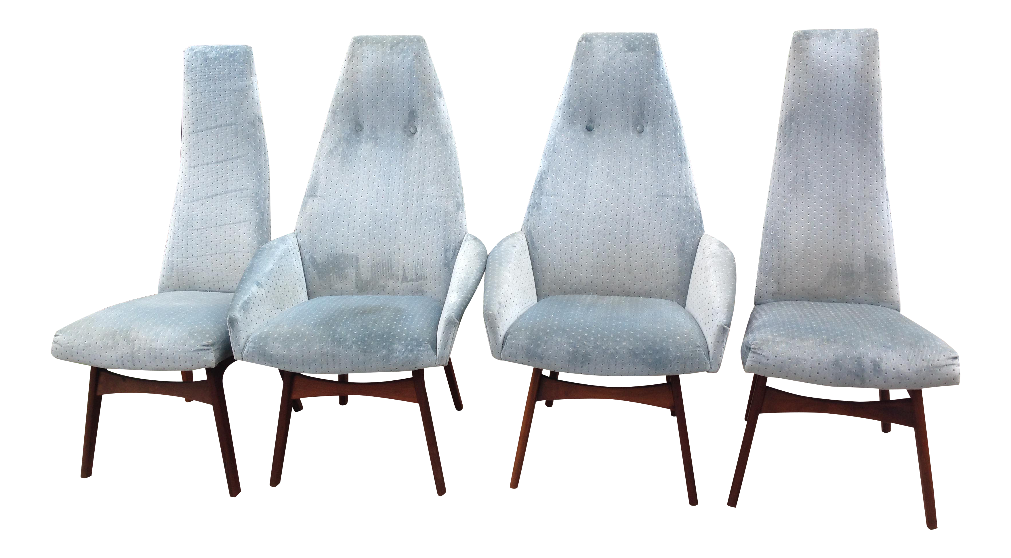 Adrian Pearsall Sculptural High Back Arm Chairs Set of 4