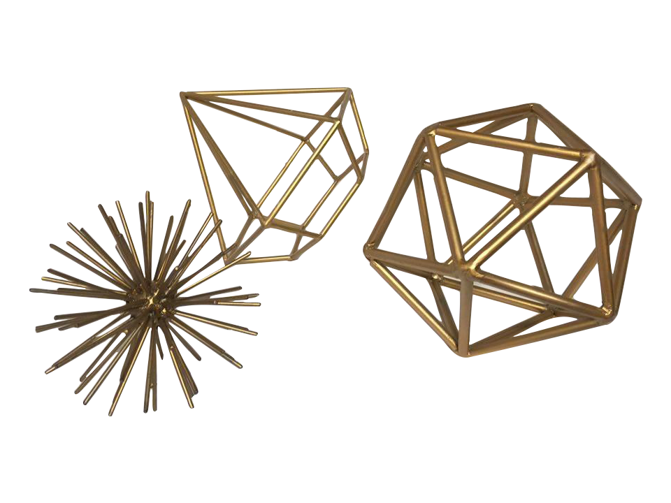 Set Of Gold Metal Geometric Shapes Chairish