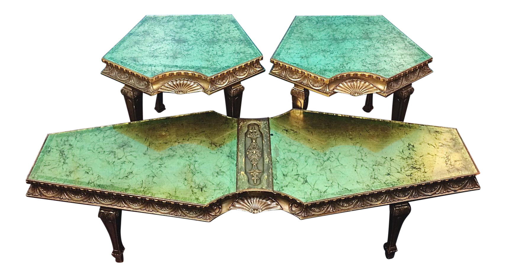 hollywood regency eglomise green u0026 gold coffee table 3 piece set