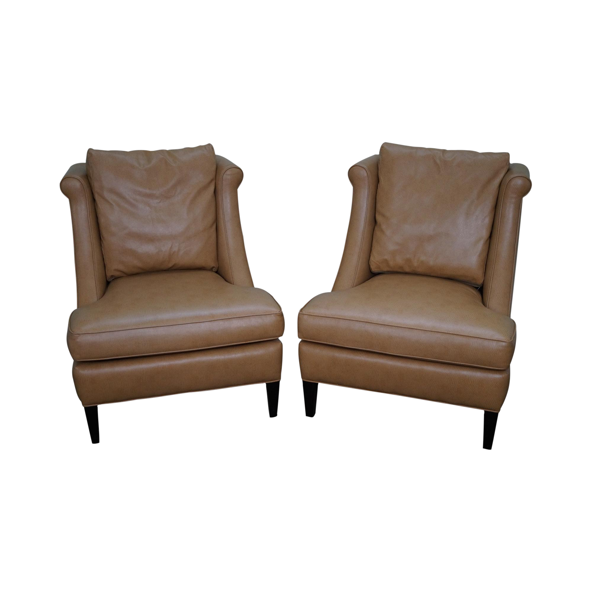 Jessica Charles Custom Faux Ostrich Lounge Chairs A Pair