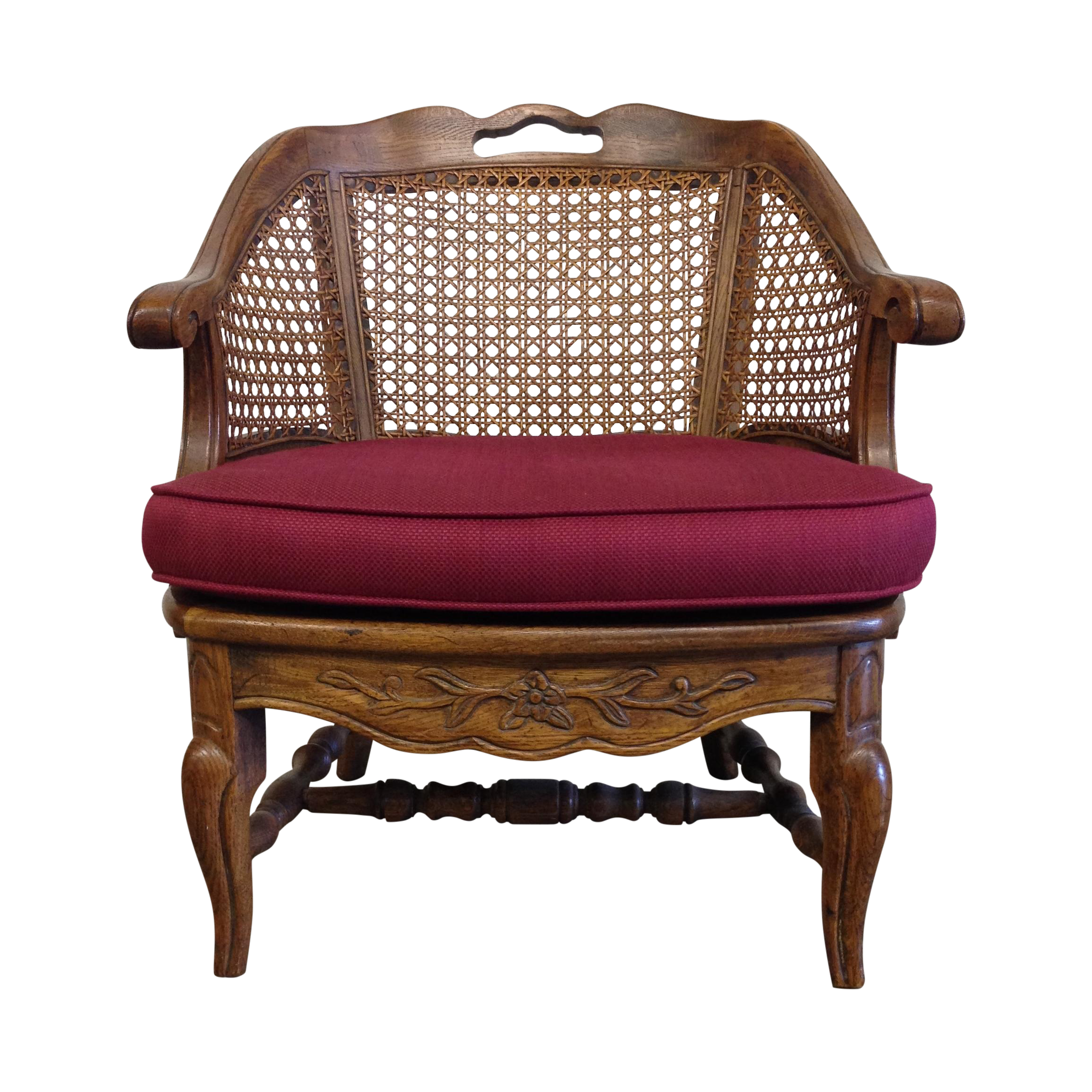 French Provincial Cane Back Barrel Chair Chairish