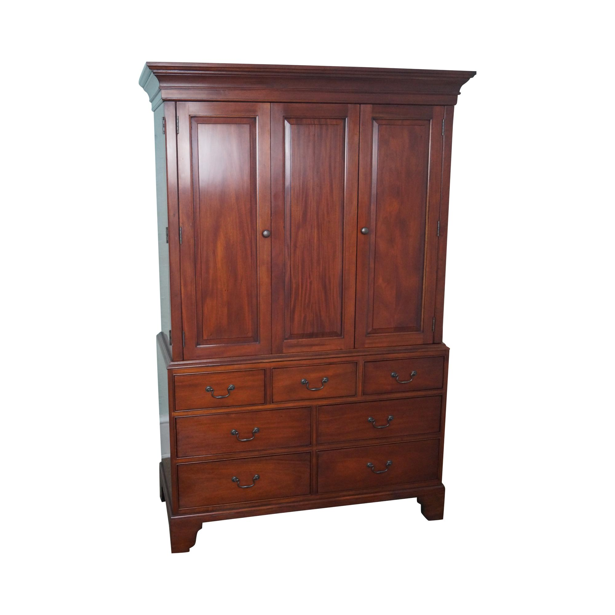 Large mahogany chippendale style tv cabinet armoire chairish for Armoire penderie style japonais