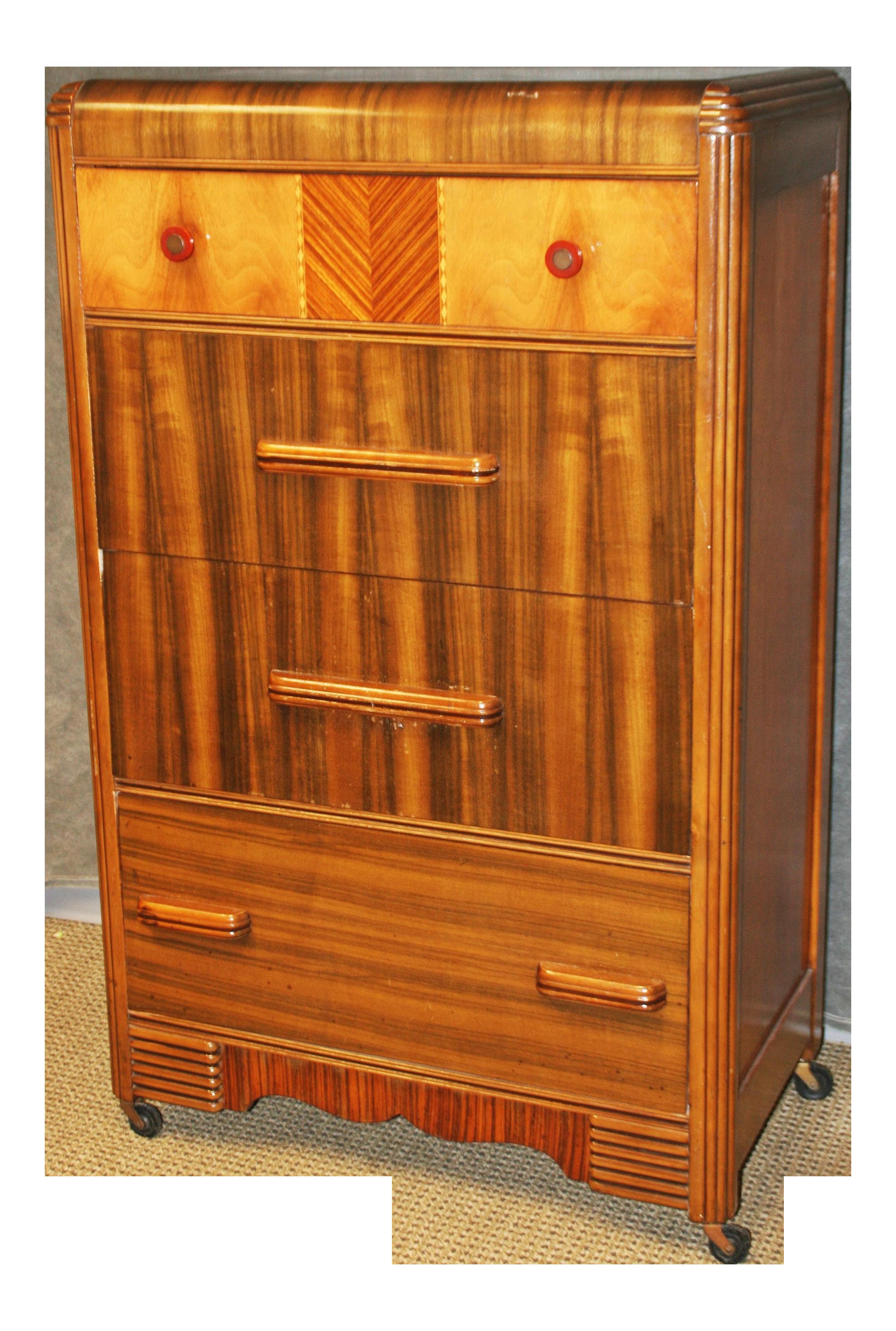 Art Deco Waterfall Dresser With Bakelite Drawer Pulls