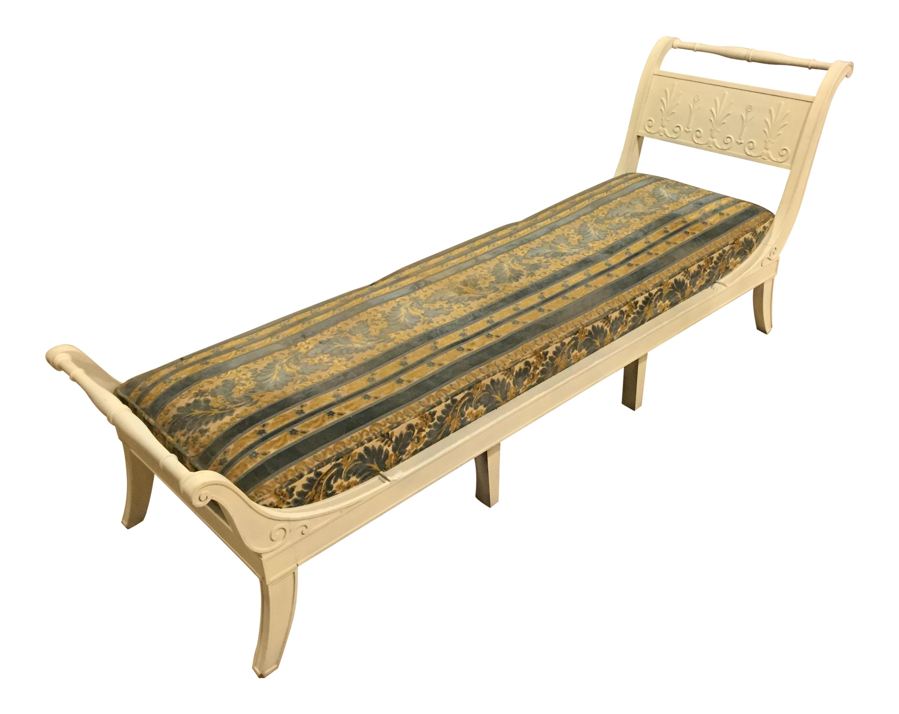 Antique 1920s white directoire style chaise lounge chairish for Antique style chaise lounge