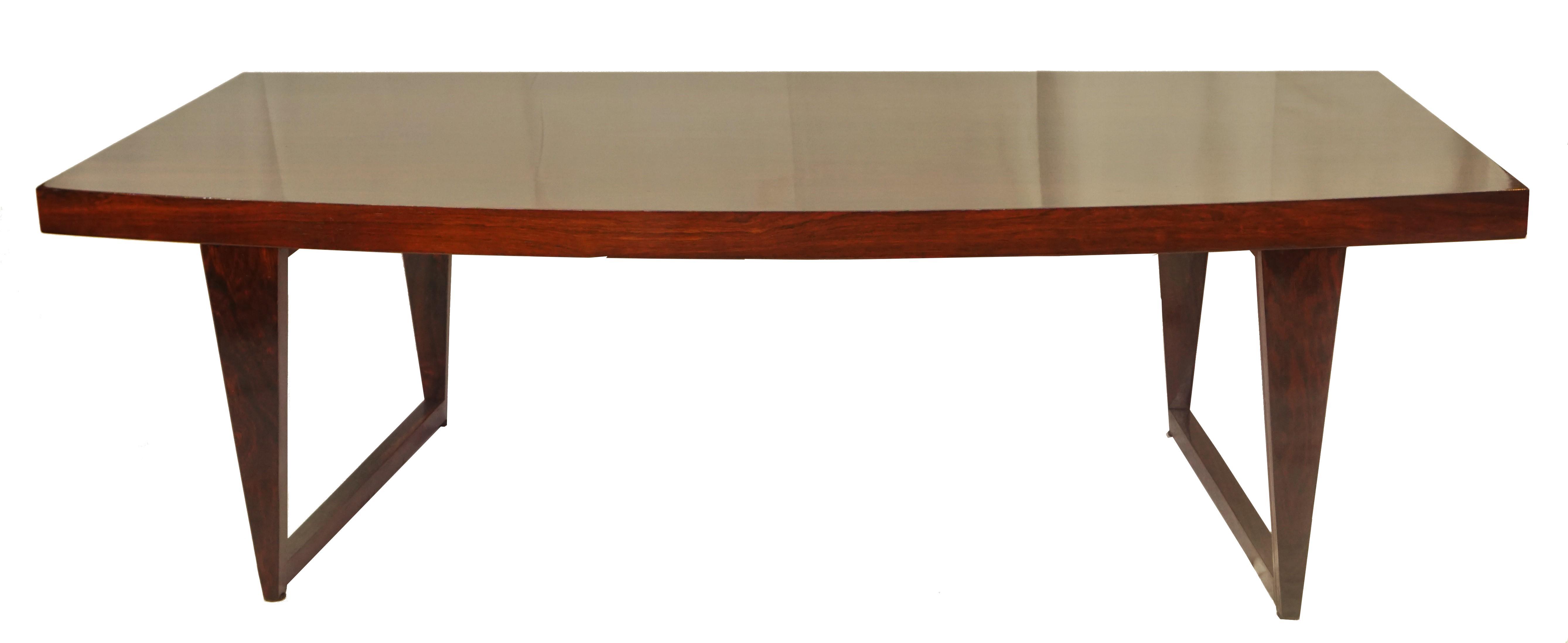 1950's cfc silkeborg danish curved rosewood coffee table   chairish