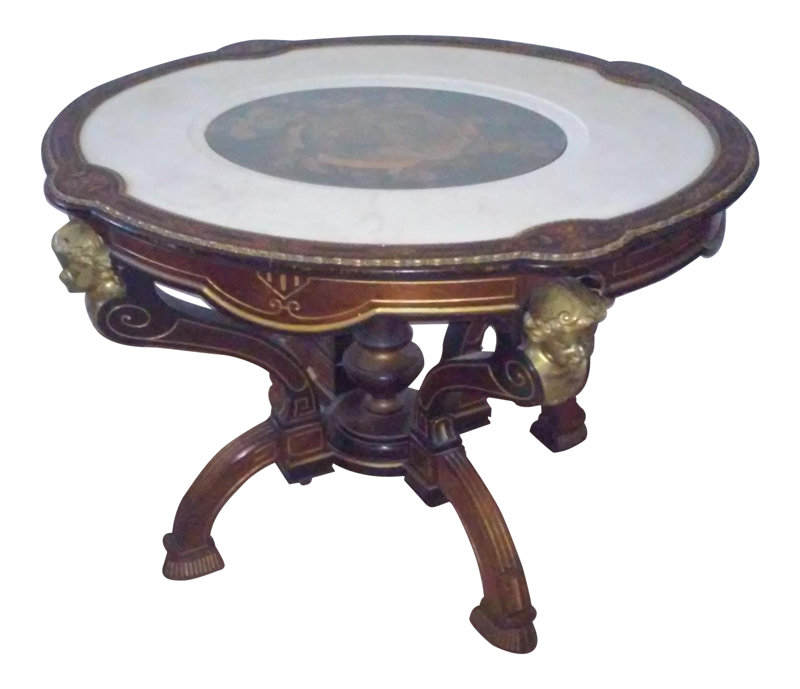 Antique Inlaid Marble Table : Vintage table with inlaid marble chairish